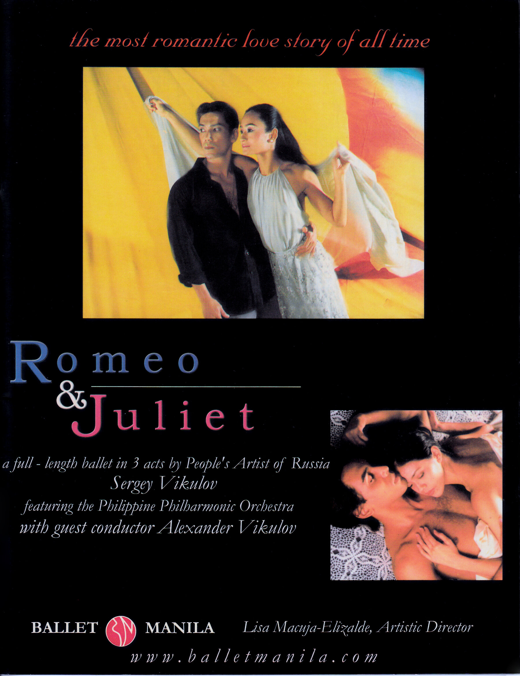 Souvenir program of the three-act  Romeo and Juliet  that People's Artist of Russia Sergey Vikulov choreographed for Ballet Manila. From the Ballet Manila Archives collection