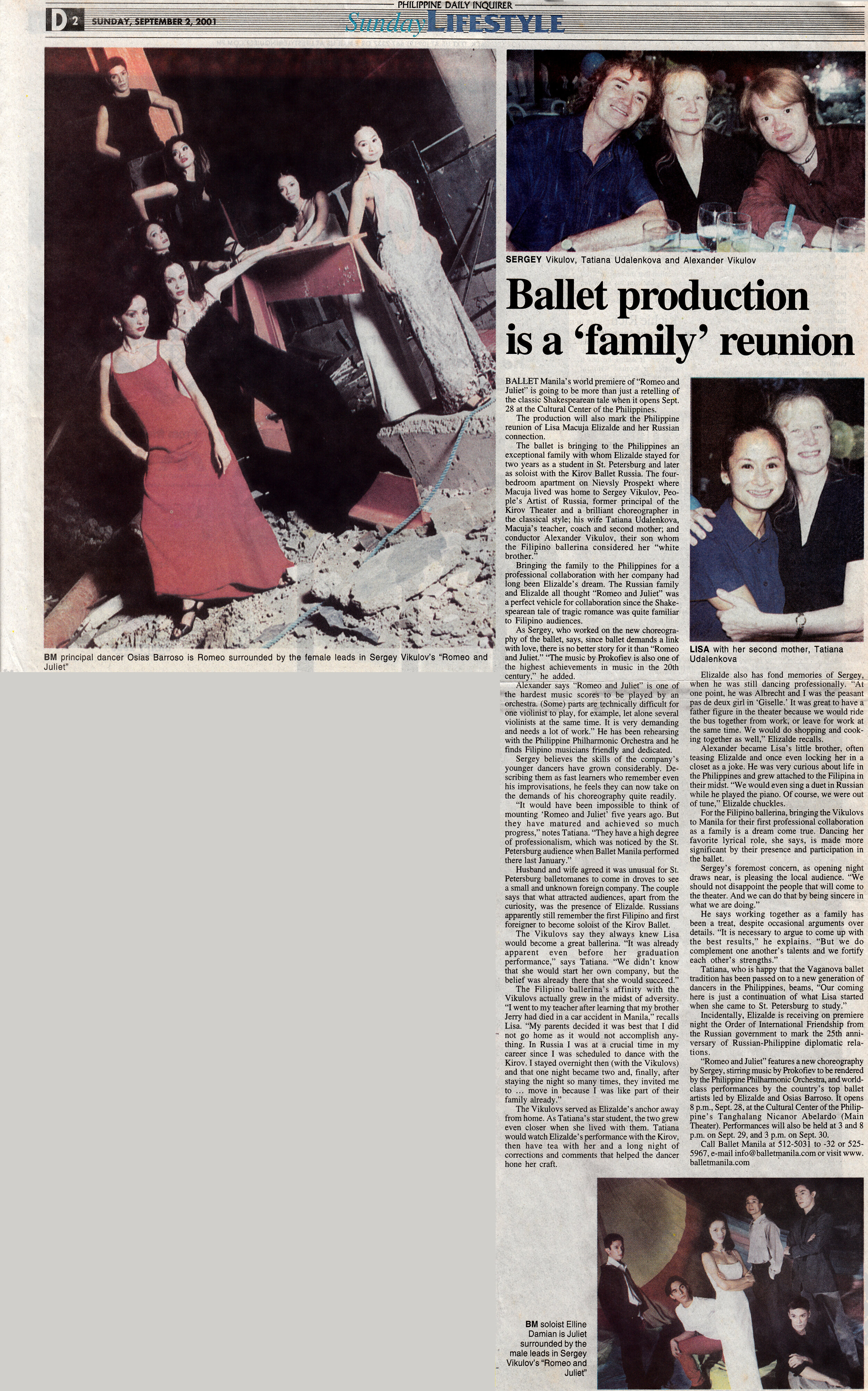 Newspaper story celebrates Lisa Macuja-Elizalde's Russian connection and reunion with the Vikulovs with whom she lived in St. Petersburg. From the Ballet Manila Archives collection
