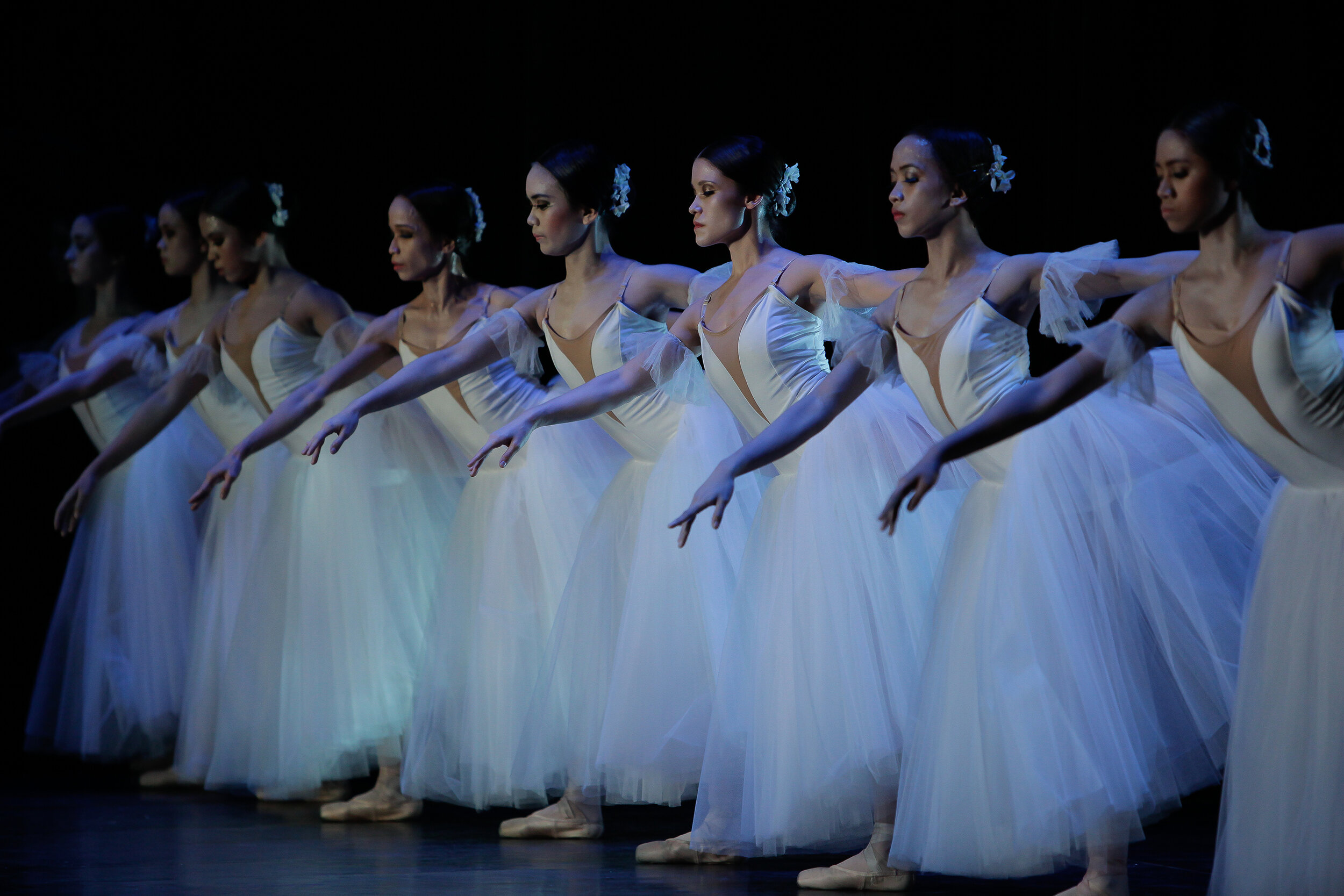 Bringing to life the Wilis, Ballet Manila's corps de ballet moves as one in this 2012 performance of  Giselle . Photo by Jojo Mamangun