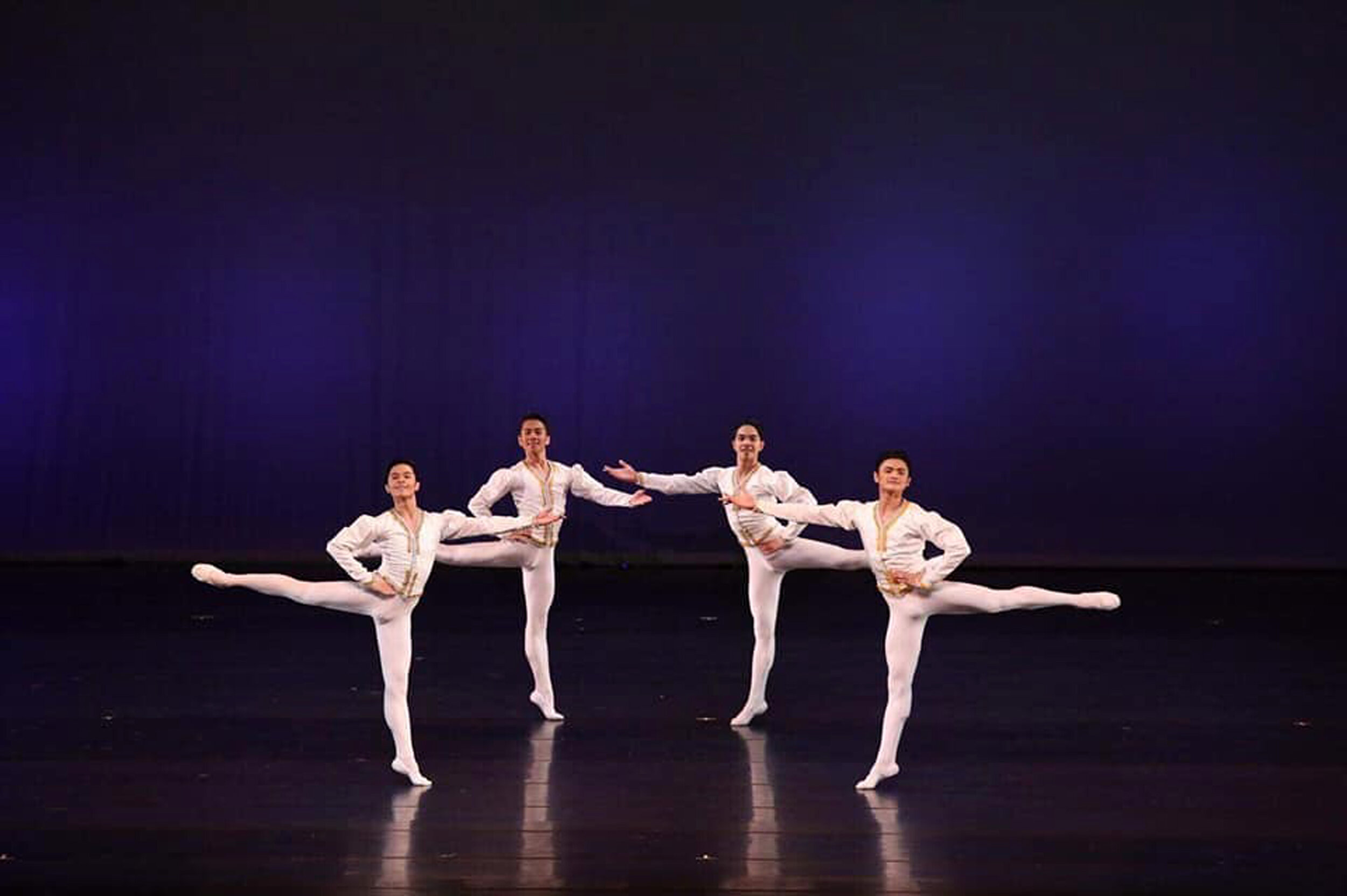 The BM boys in an excerpt from  Raymonda : (from left) Rafael Perez, Brian Sevilla, Alvin Dictado and Joshua Enciso