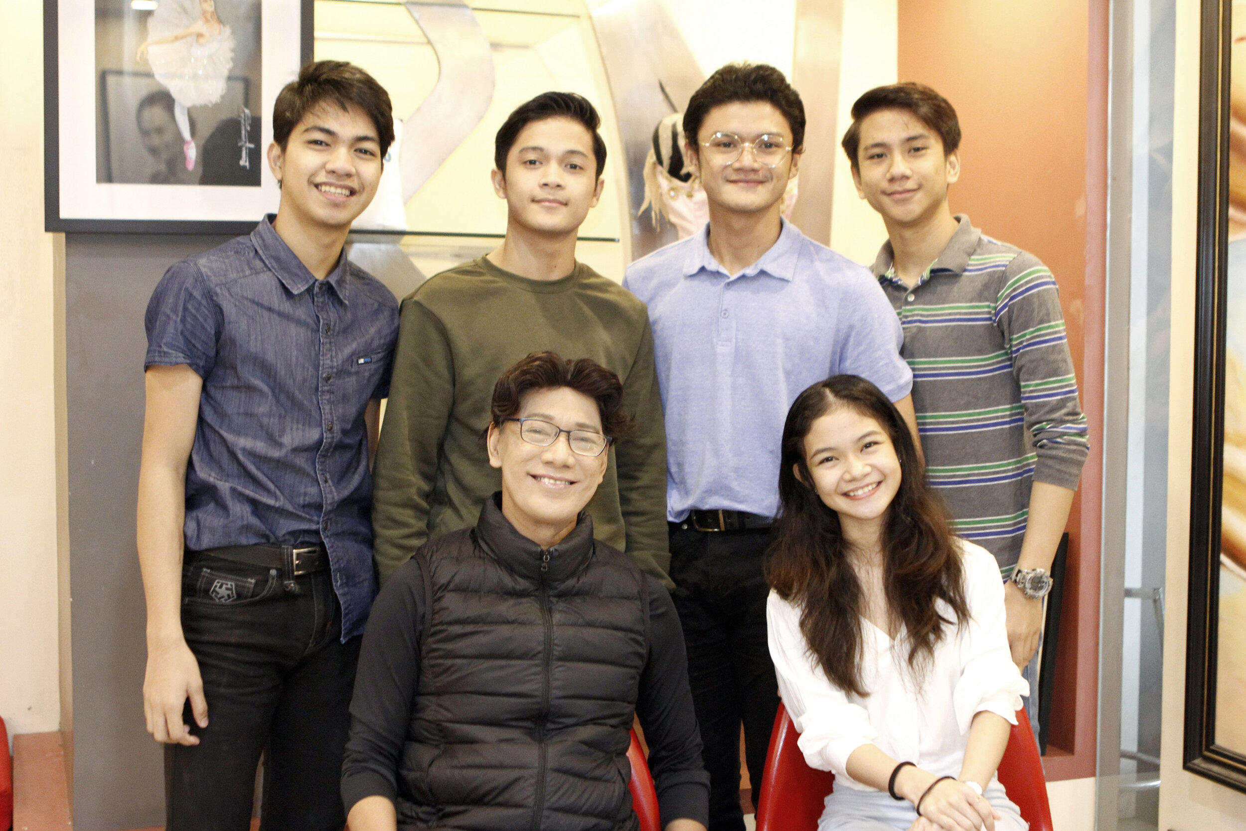 """Ballet Manila's delegation to Taiwan, led by co-artistic director Osias """"Shaz"""" Barroso (seated, left), had a productive trip of performance and interaction with dancers of Zhongli Youth Ballet. The group is composed of Shaira Comeros (seated, right) and (standing from left) Alvin Dictado, Rafael Perez, Joshua Enciso and Brian Sevilla. Photo by Jimmy Villanueva"""