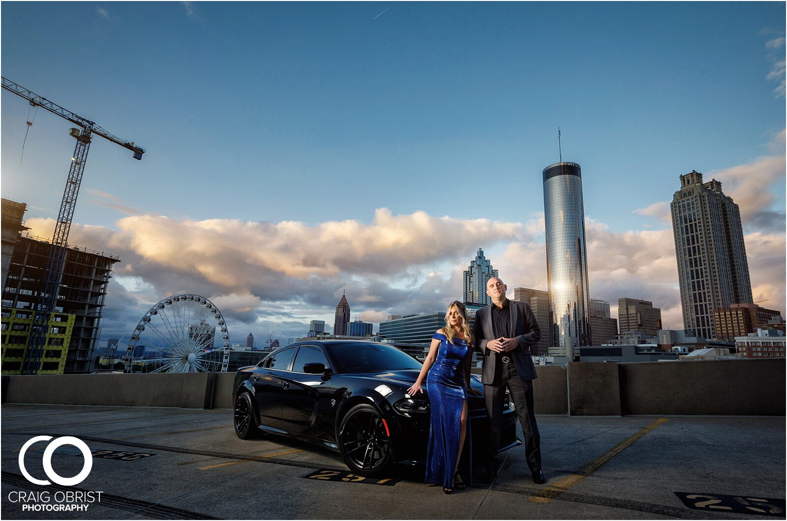 Amanda Eric Lenox Park Atlanta Skyline Engagement Portraits Craig Obrist Photography
