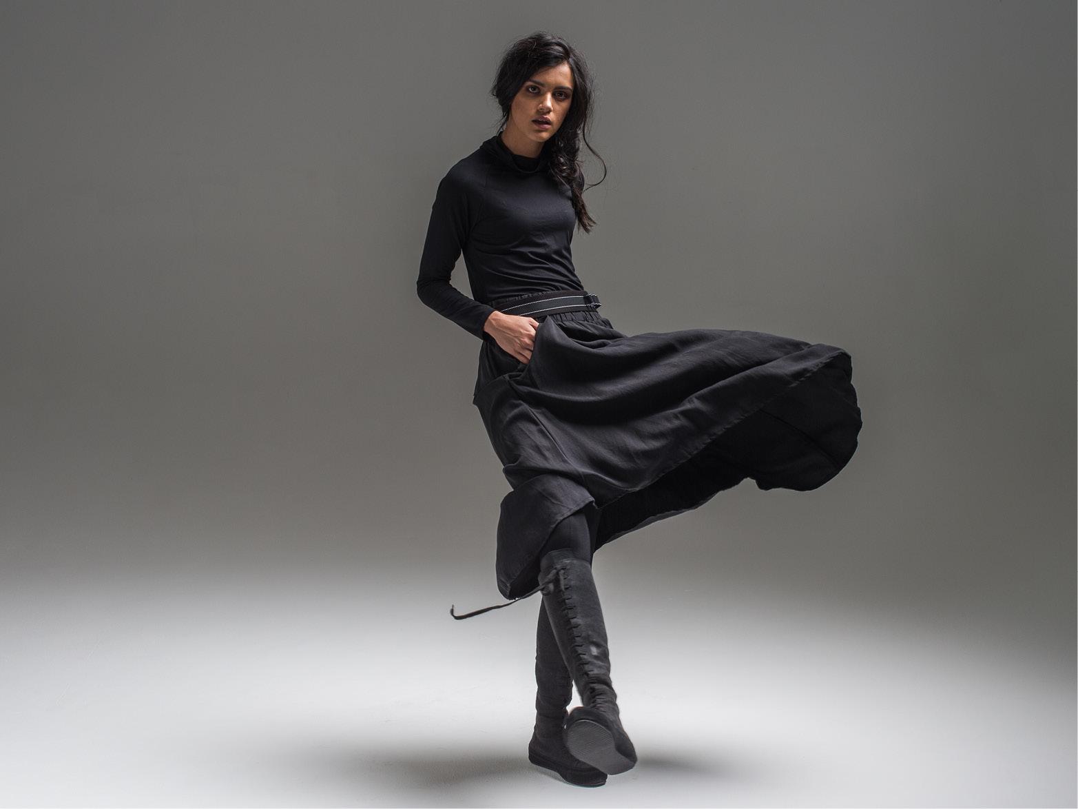 Alex top, Lanky legs, Hook skirt + Pinstripe belt