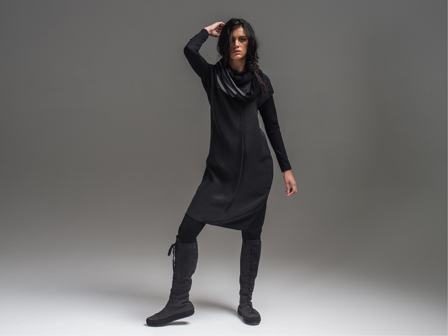 Multitude top, Lanky legs, Juxtapose dress + Mmerrrino scarf