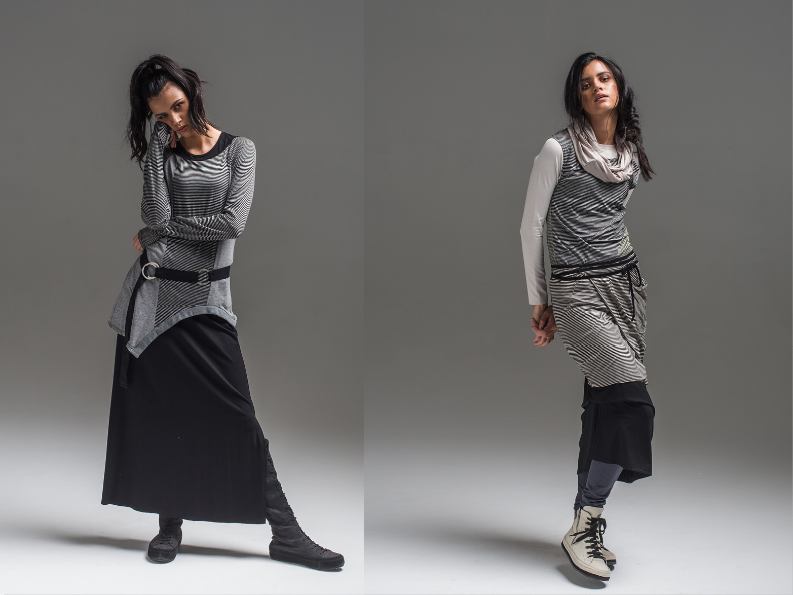 L: Obsidian top, Coco top, Emma skirt + Circle belt R: Multitude top, Treble vest, wool Thea skirt, wool Nellie pant, wool Infinity scarf + Cee Cee wrap