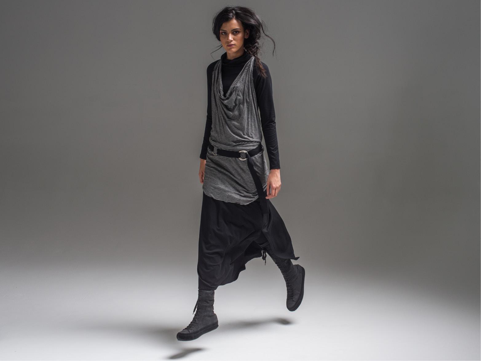 Alex top, Vertigo wrap, Emma skirt + Circle belt