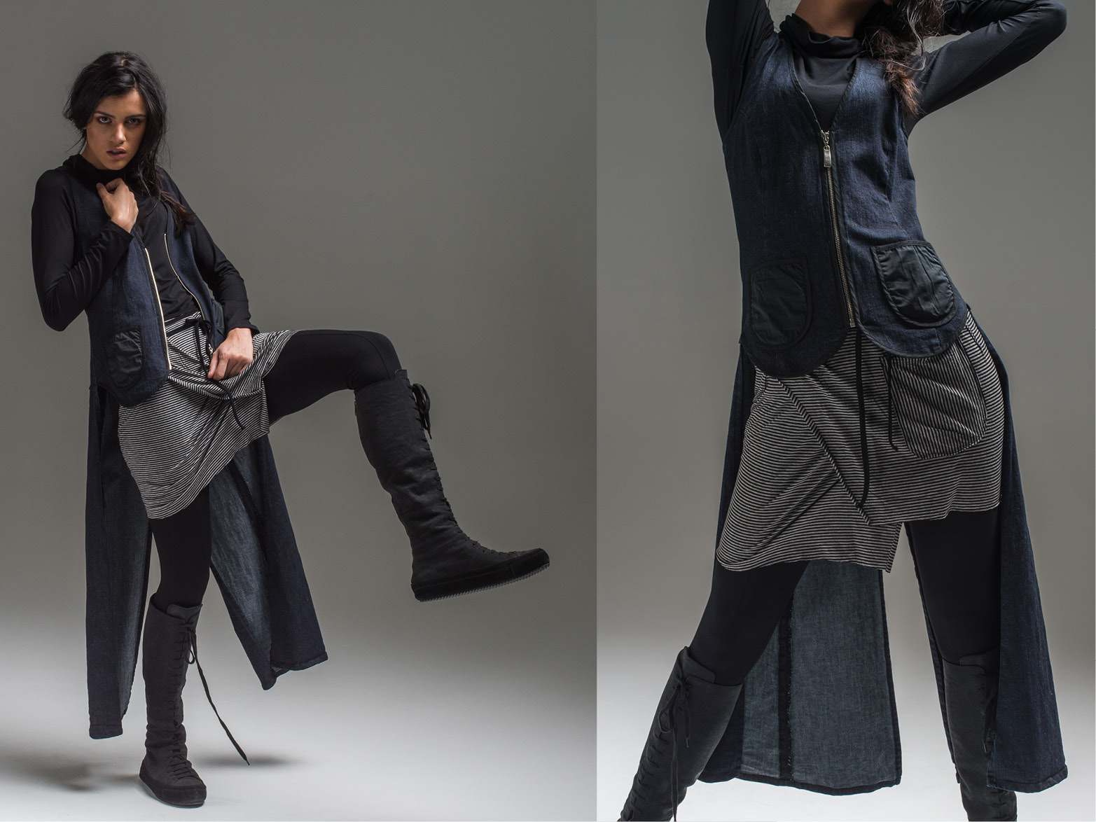 L+R: Alex top, Lanky legs, Cee Cee wrap + Carrie tails