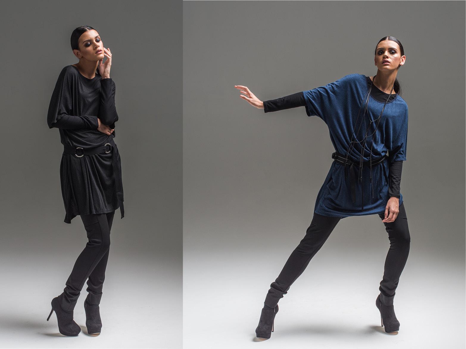 L: Multitude top, Jana pant, Fusion dress + Circle belt R: Multitude top, Jana pant, Fusion dress + Pinstripe belt
