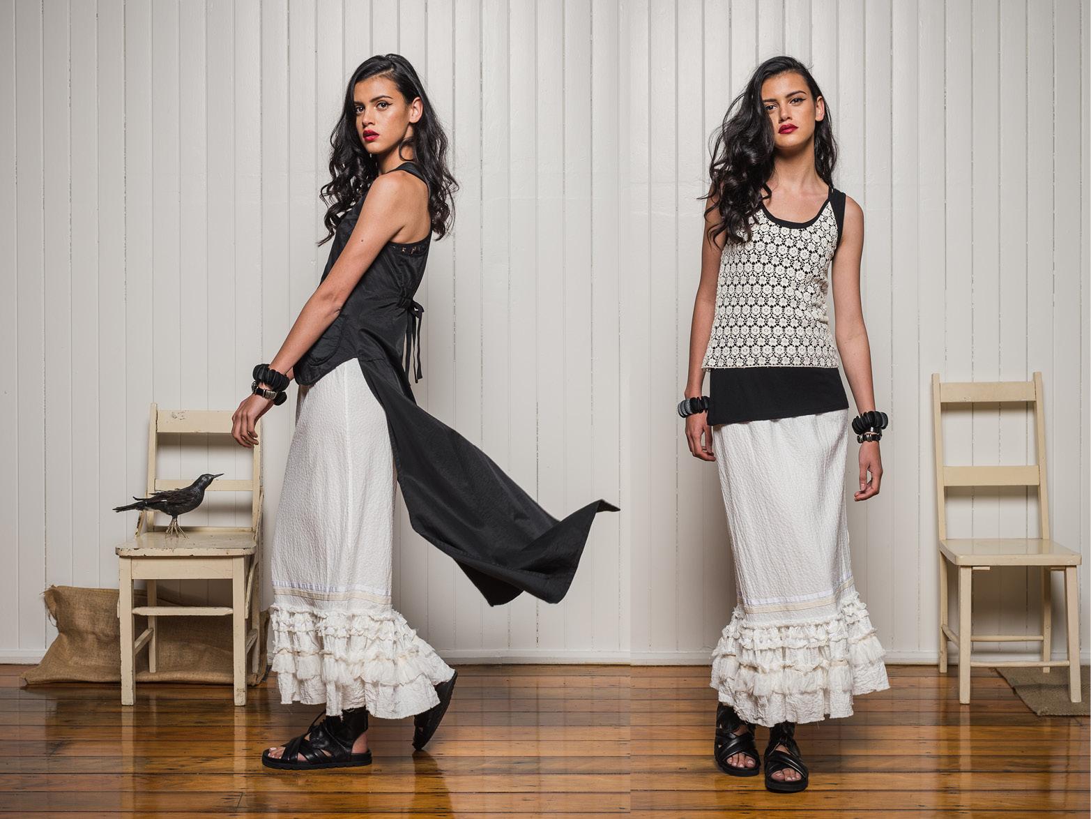 LEFT: Petal Lace top + Carrie tails + Banksii petticoat RIGHT: Greta singlet + Petal lace top + Banksii petticoat