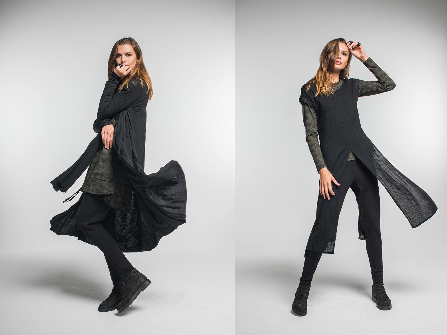 LEFT: Multitude top, Nancy dress, Nellie pants, Facade coat  RIGHT: Subtle top, Nellie pants, Covert Tunic