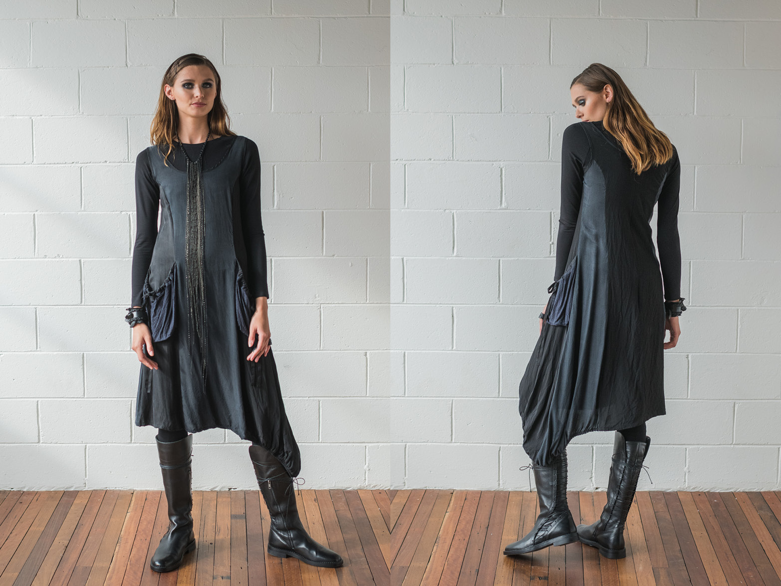 Multitude top, Rogue dress, Lanky legs
