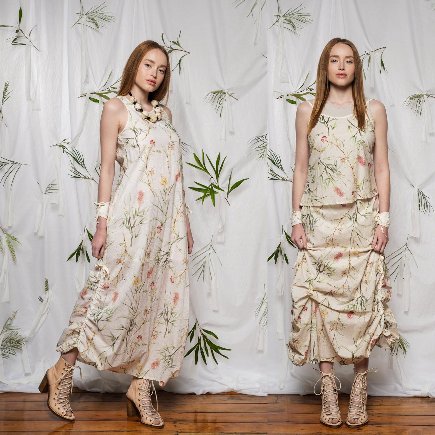 LEFT: Marmalade Dress  RIGHT: Esker Top, Obsidian Top & Marmalade Skirt