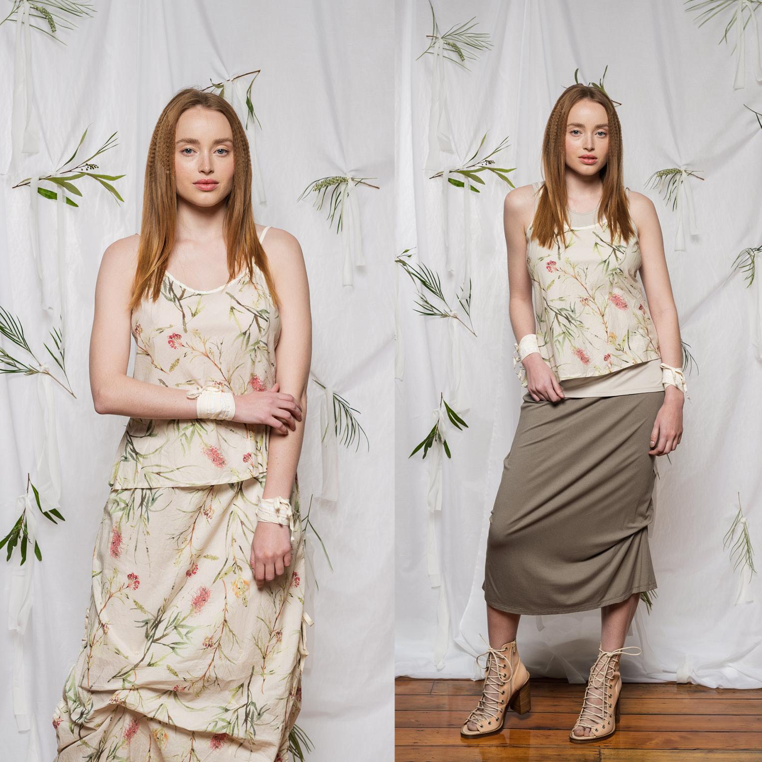 LEFT: Esker Top & Marmalade Skirt  RIGHT: Esker Top, Obsidian Top & Thea Skirt
