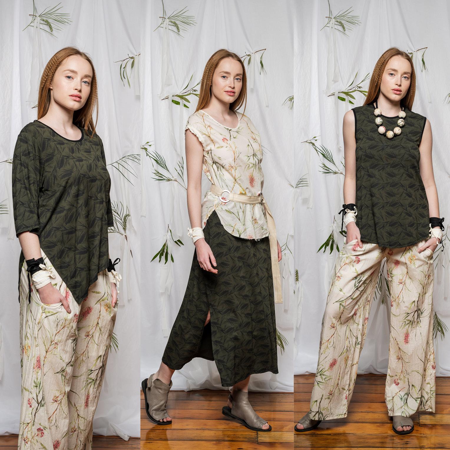 LEFT: Dana Top & Honey Gem Pant  CENTRE: Moonlight top, Emma Skirt & Linen Belt  RIGHT: Nancy Top & Honey Gem Pant