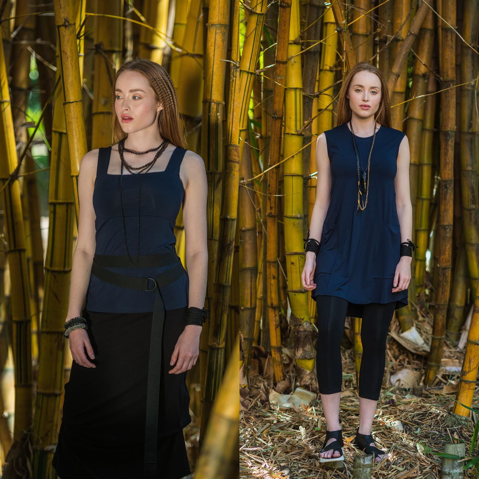 LEFT: Eternal Top, Elastic Belt & Thea Skirt  RIGHT: Nancy dress & Kiko Legging
