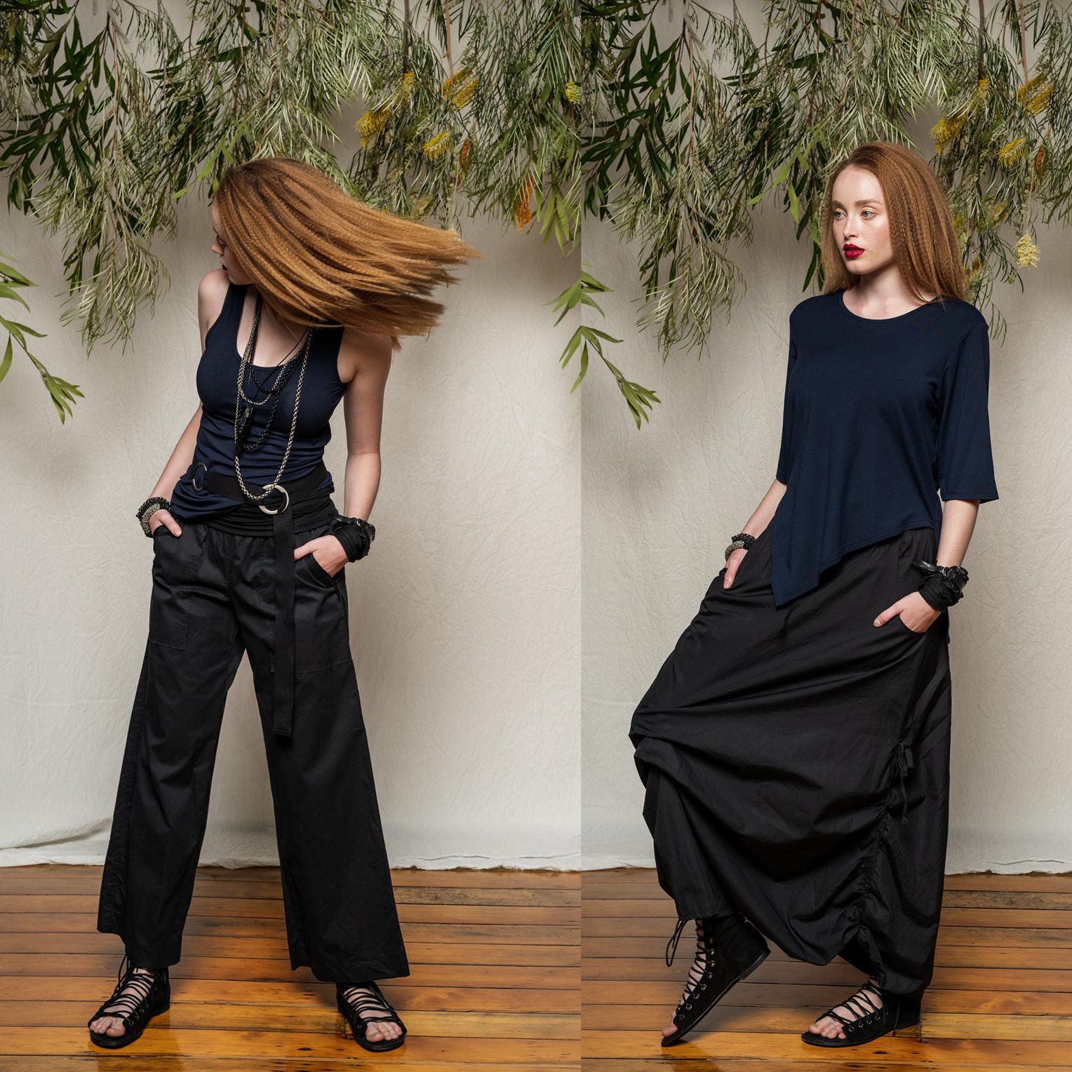 LEFT: Greta Singlet, Helen Pant & Circle Belt  RIGHT: Dana Top & Marmalade Skirt