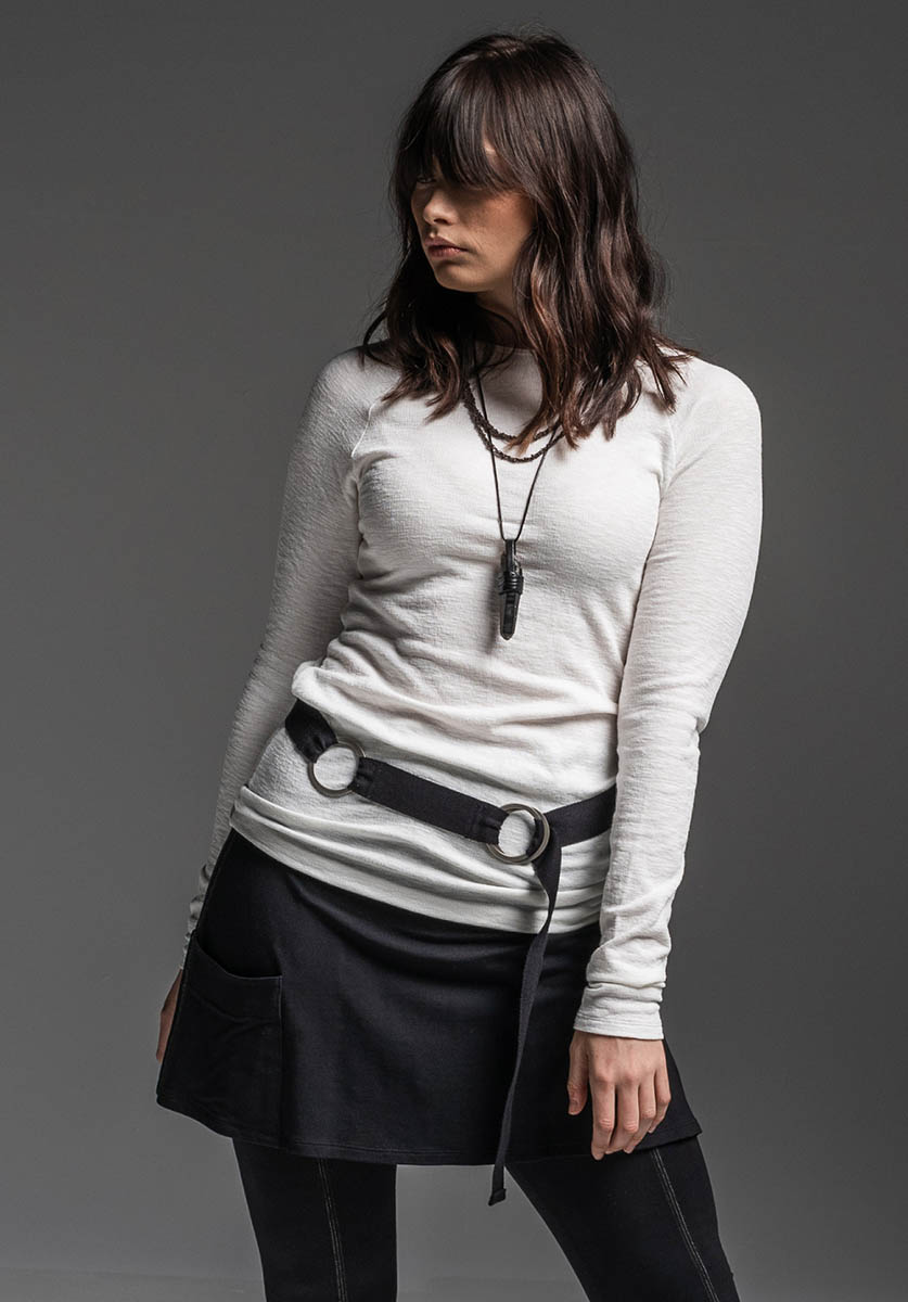 Antidote top, Circle belt + Sweetgum pant/skirt