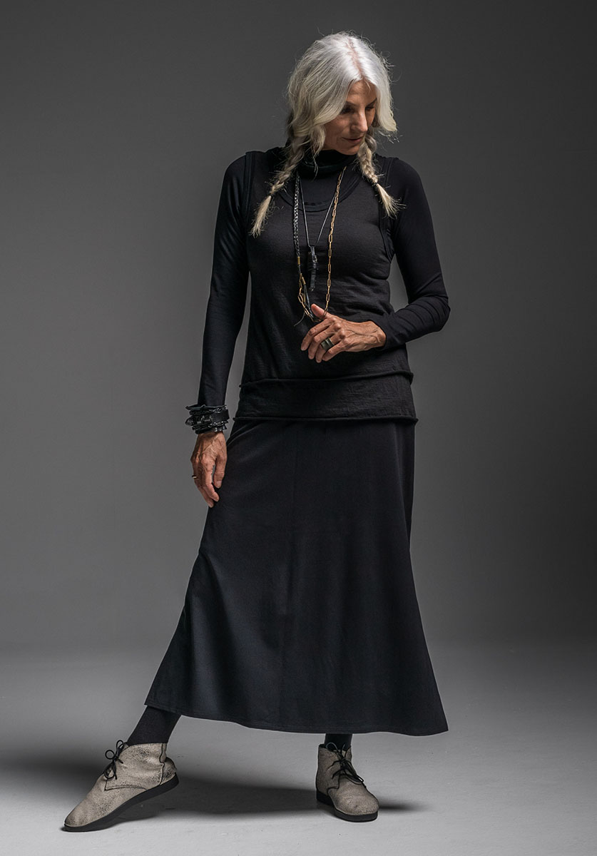 Multitude top, Oracle vest, Merino Snood + Emma skirt