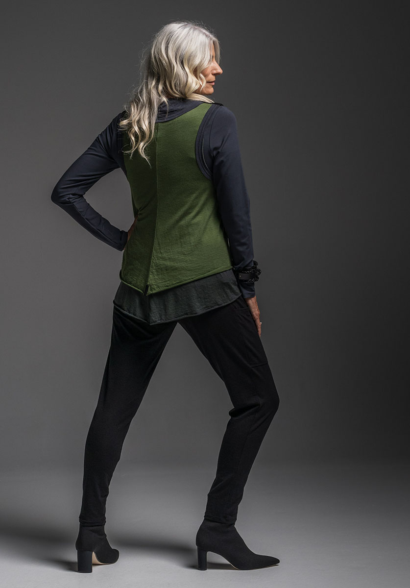 Subtle top, Oracle vest + Wool Nellie pant