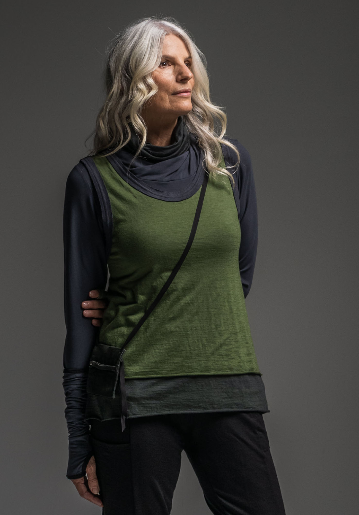 Subtle top, Oracle vest, Merino Snood + Cosy arms