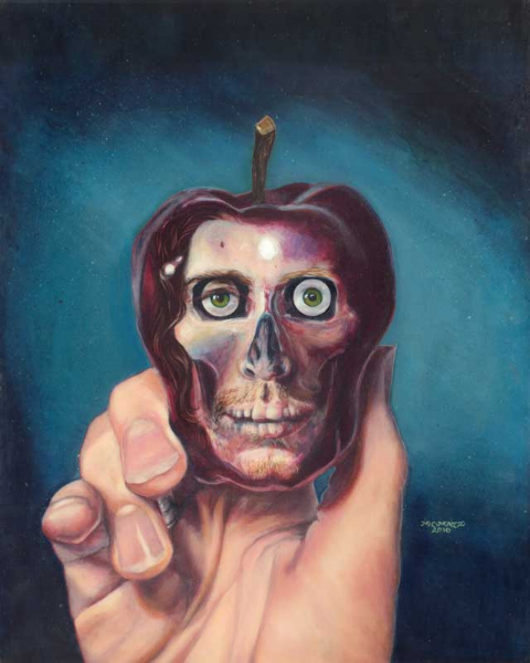 An Apple So Dark - 16 inches by 20 inches, acrylic on harboard