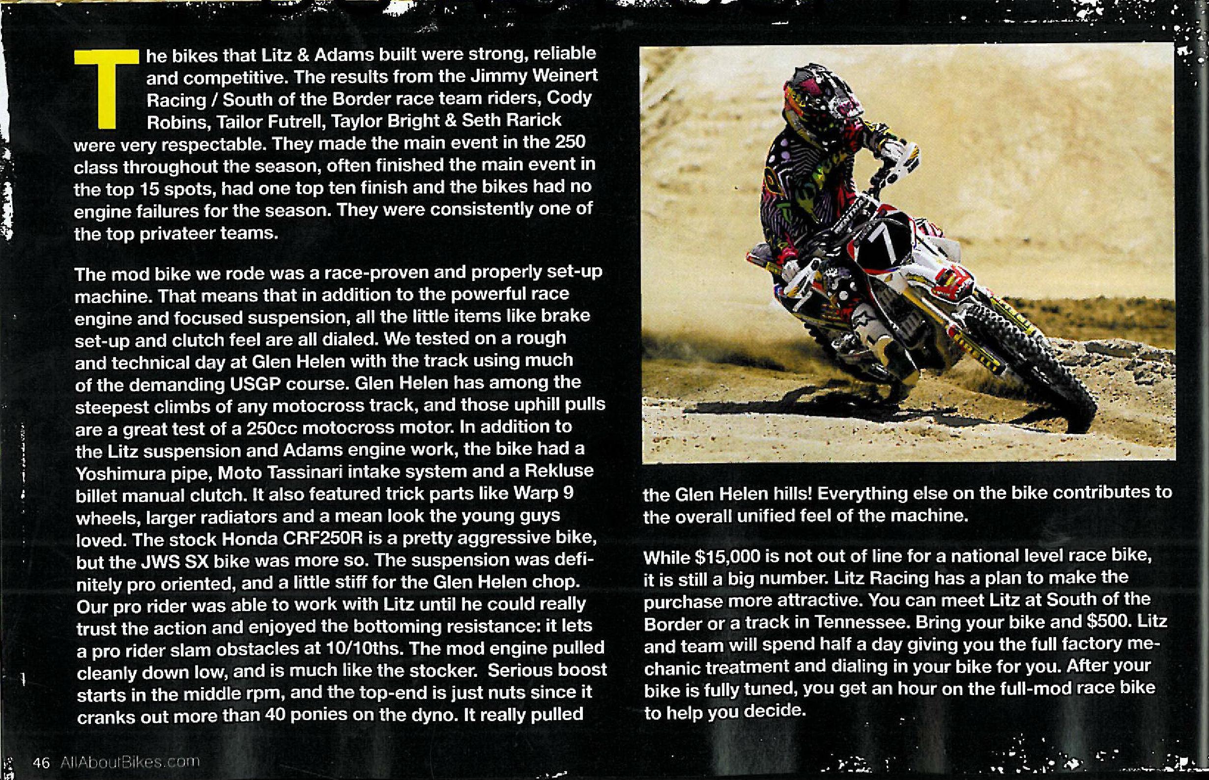 Litz Racing Motorcycle Dirt Magazine