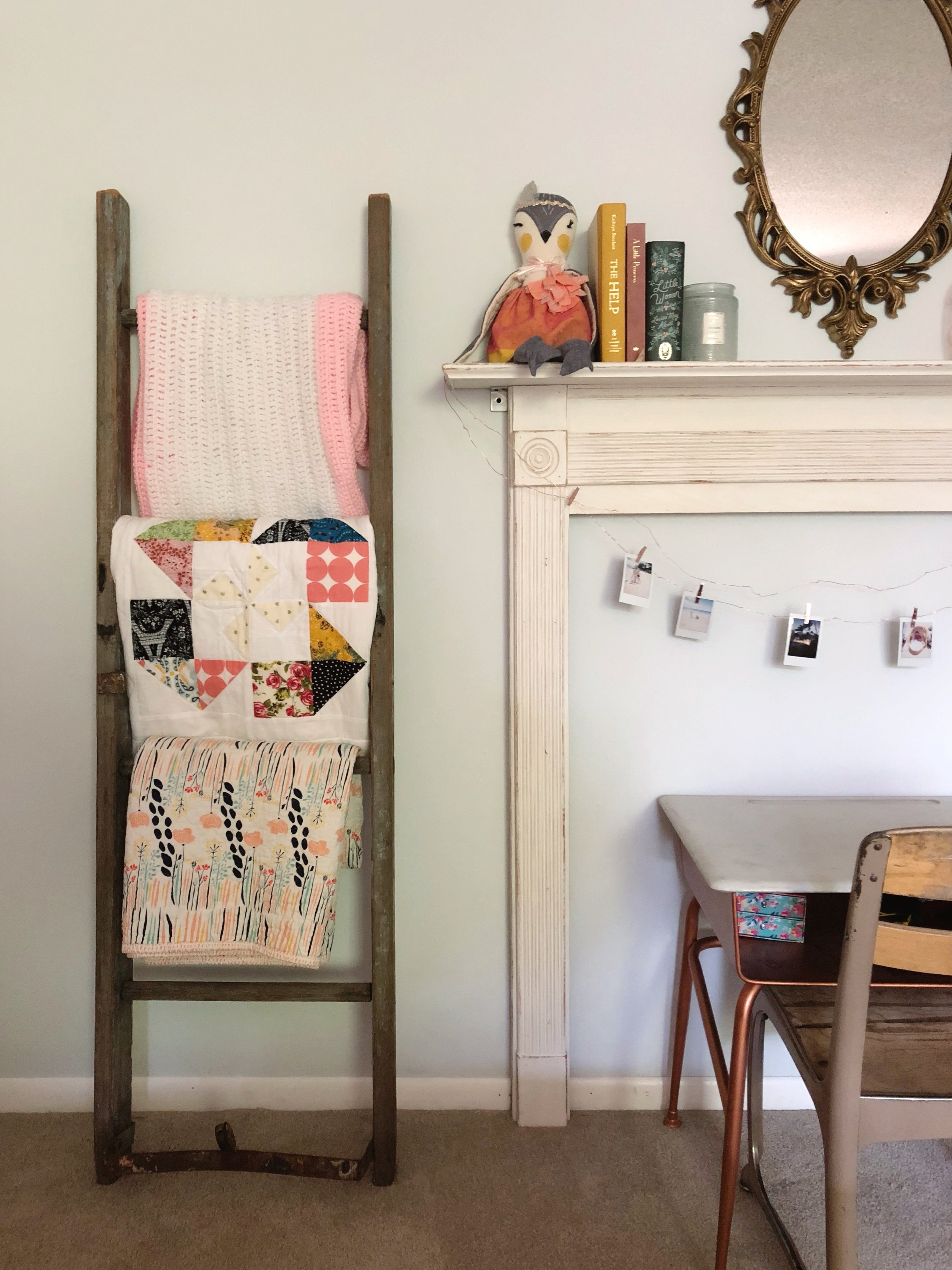 faux mantle // fireplace surround // girl's room // Kay & Edna