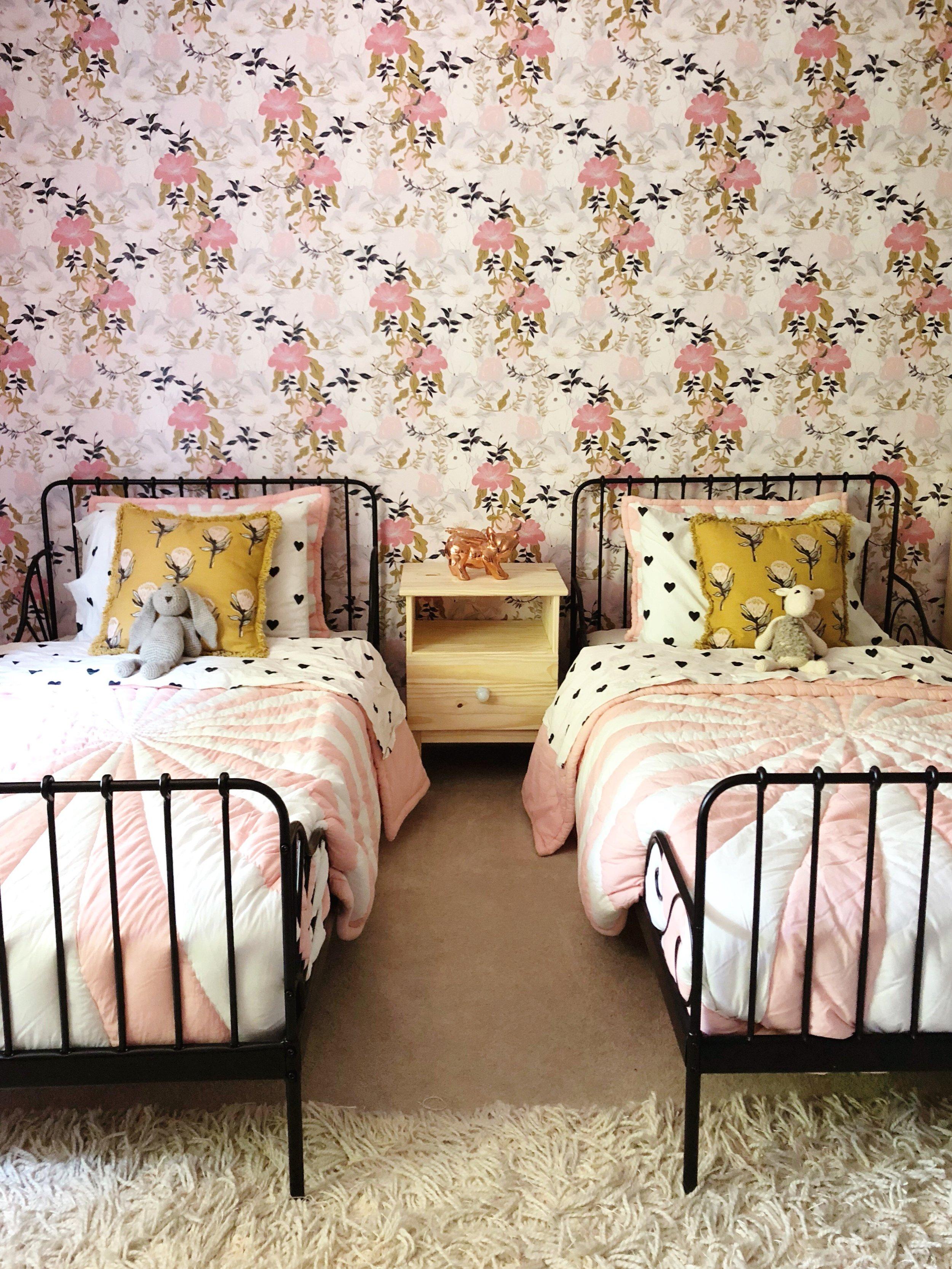 shared girls room // floral wallpaper // Kay & Edna