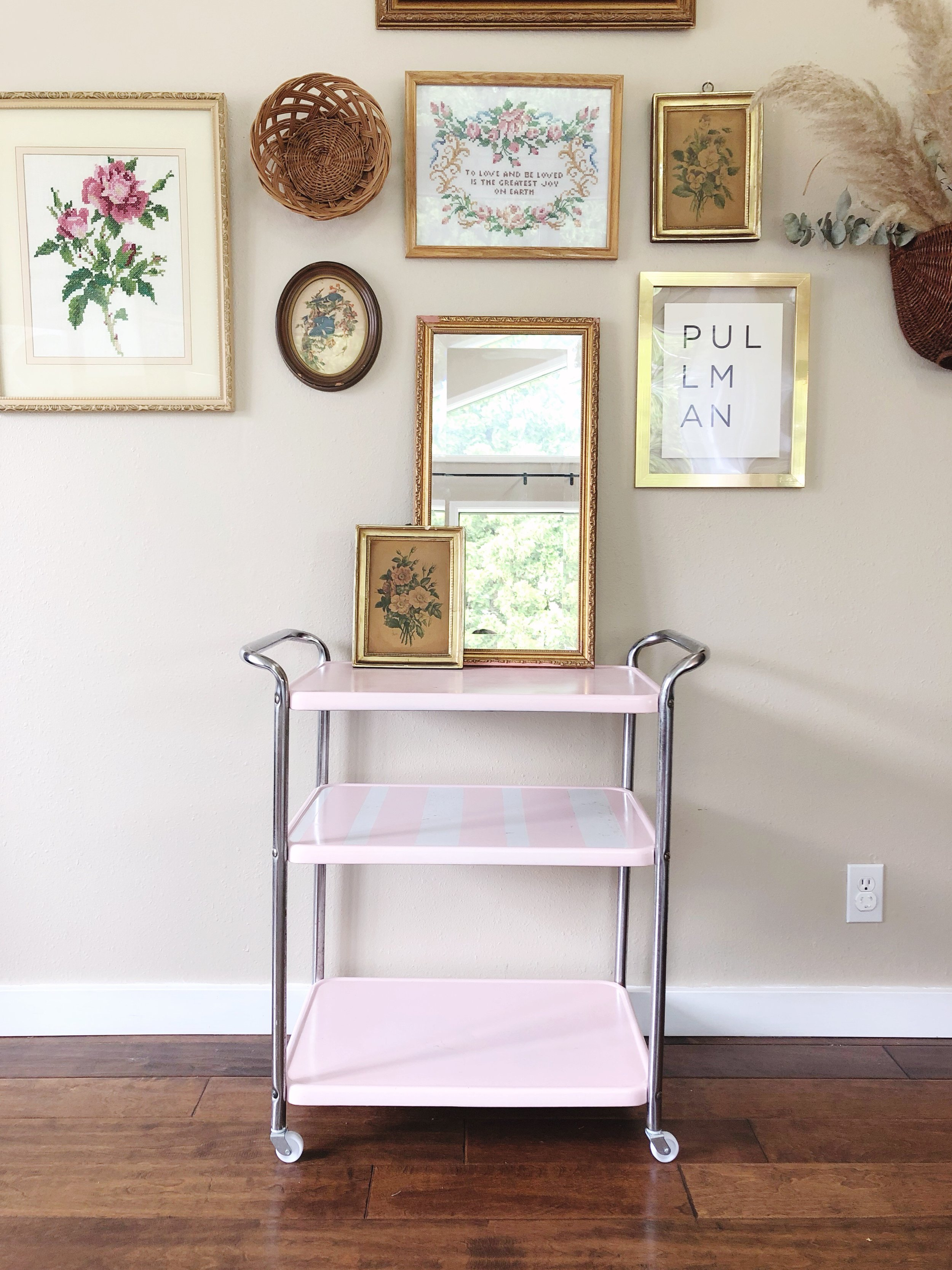 how to style a bar cart - step 2