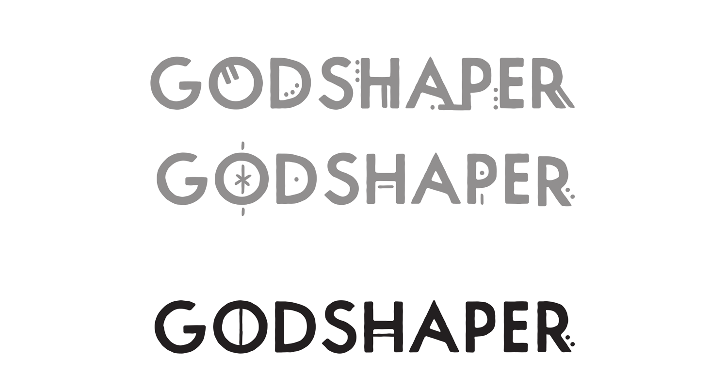 Multiple versions of the logo with varying glyphs.