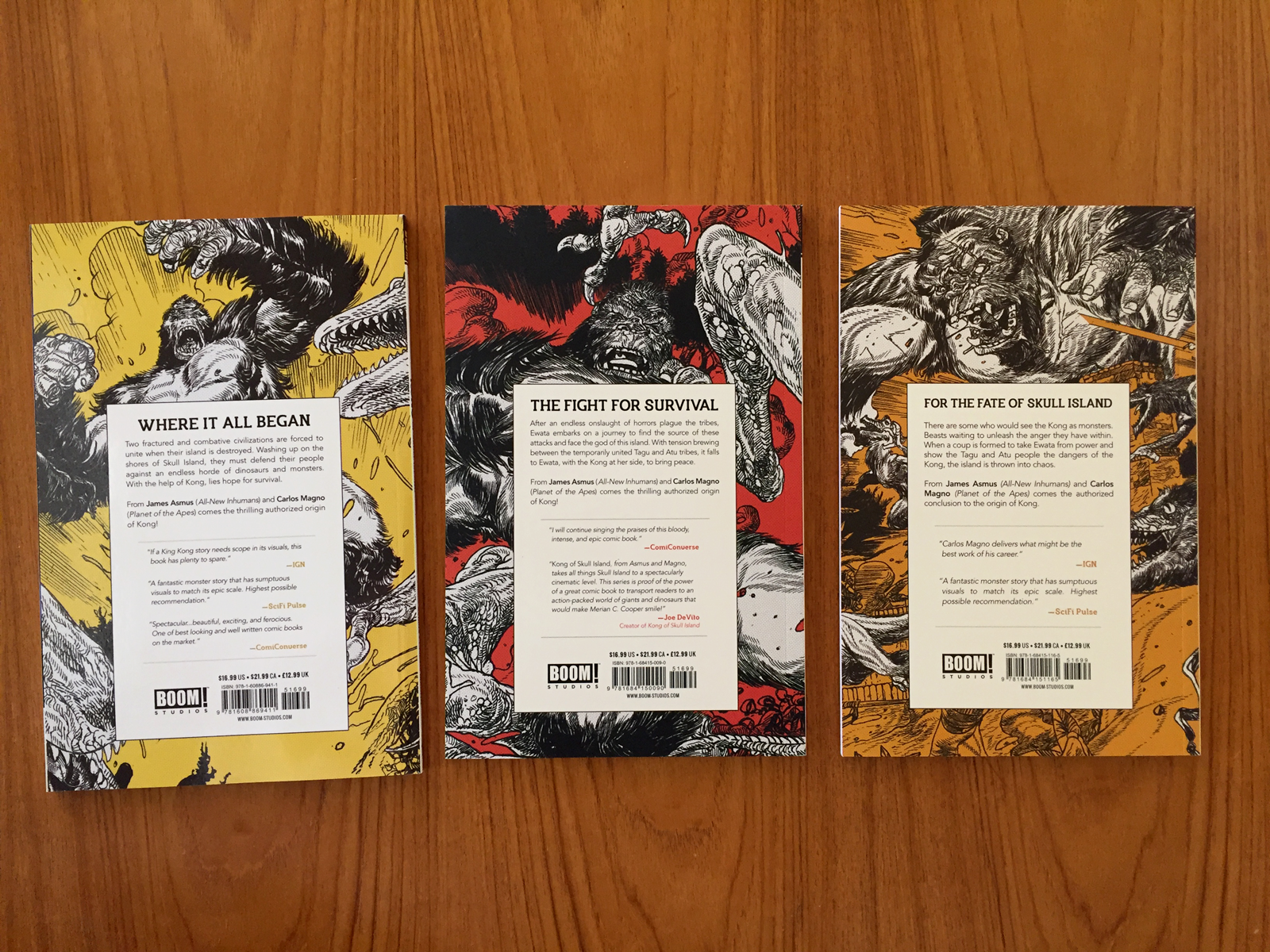 The back covers for volumes 1, 2 and 3