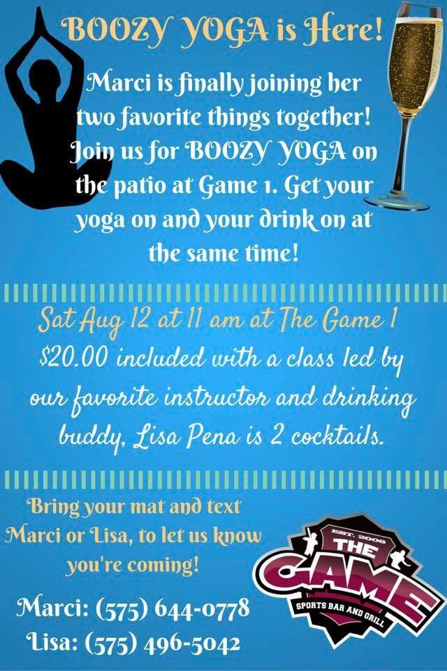 boozy yoga event at the game