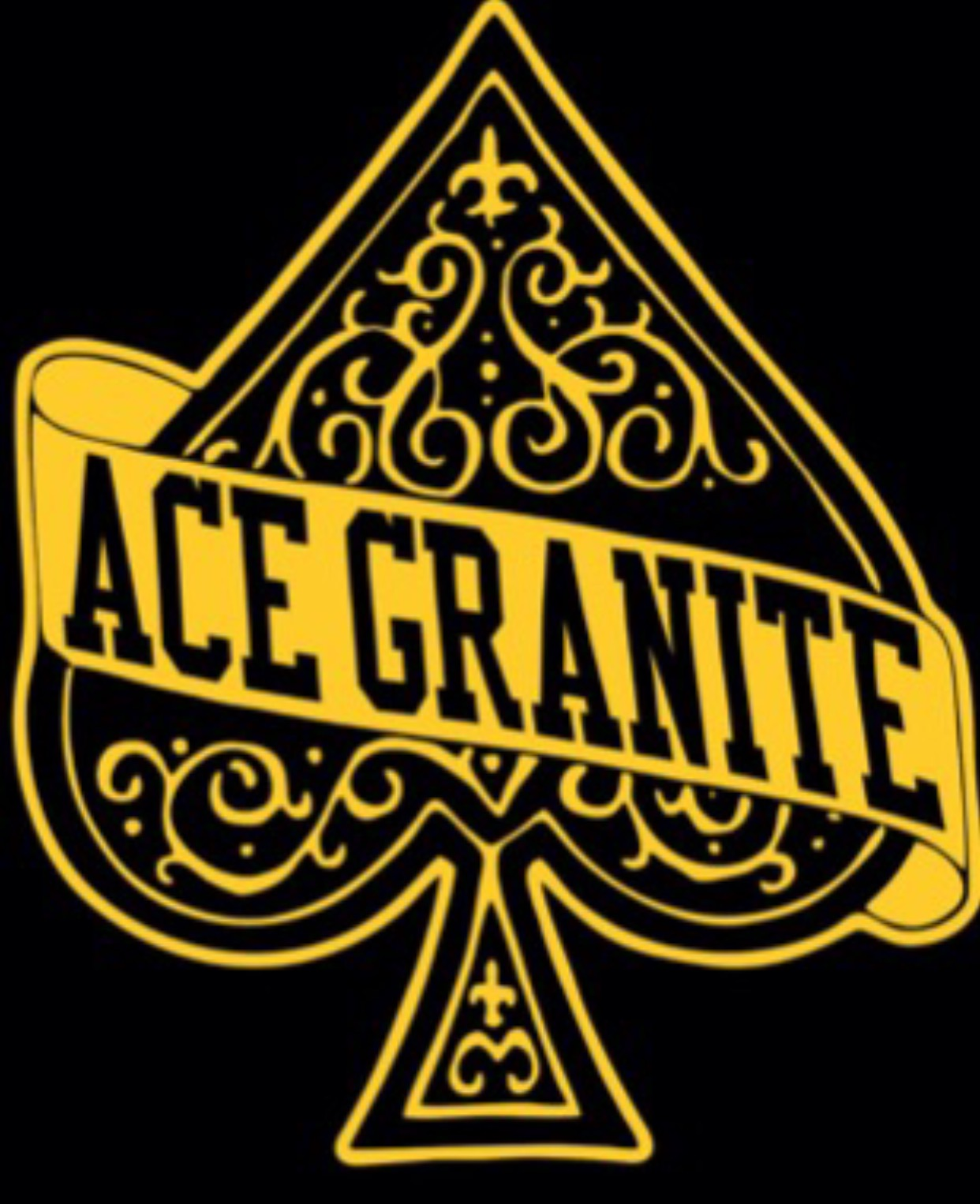 ace granite black and yellow logo of a spade with ace  granite