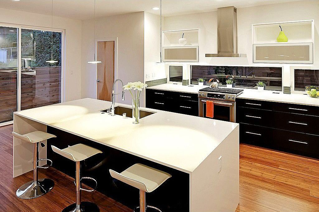 modern kitchen with white countertops