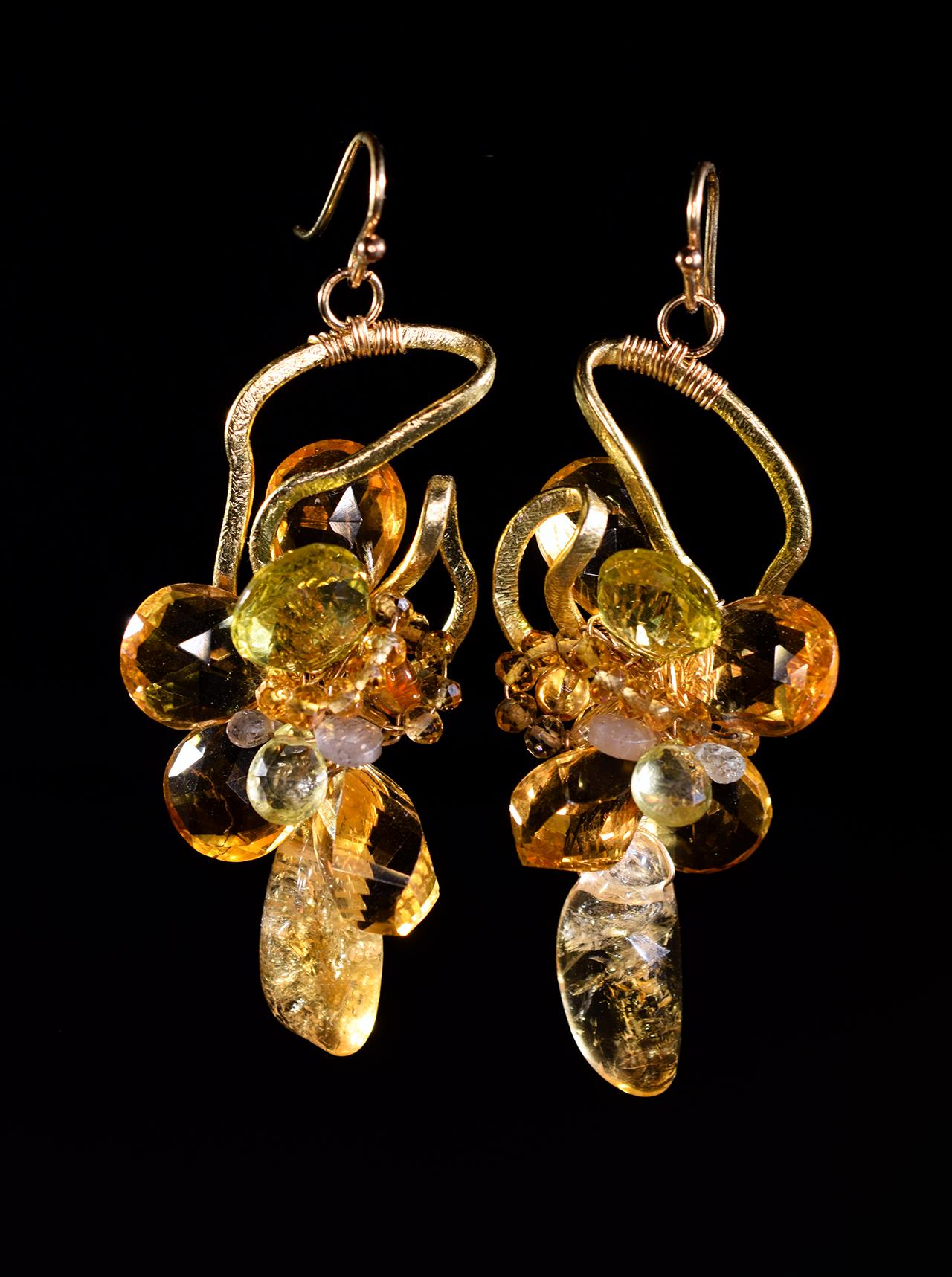 Citrine lemon topaz gold earrings