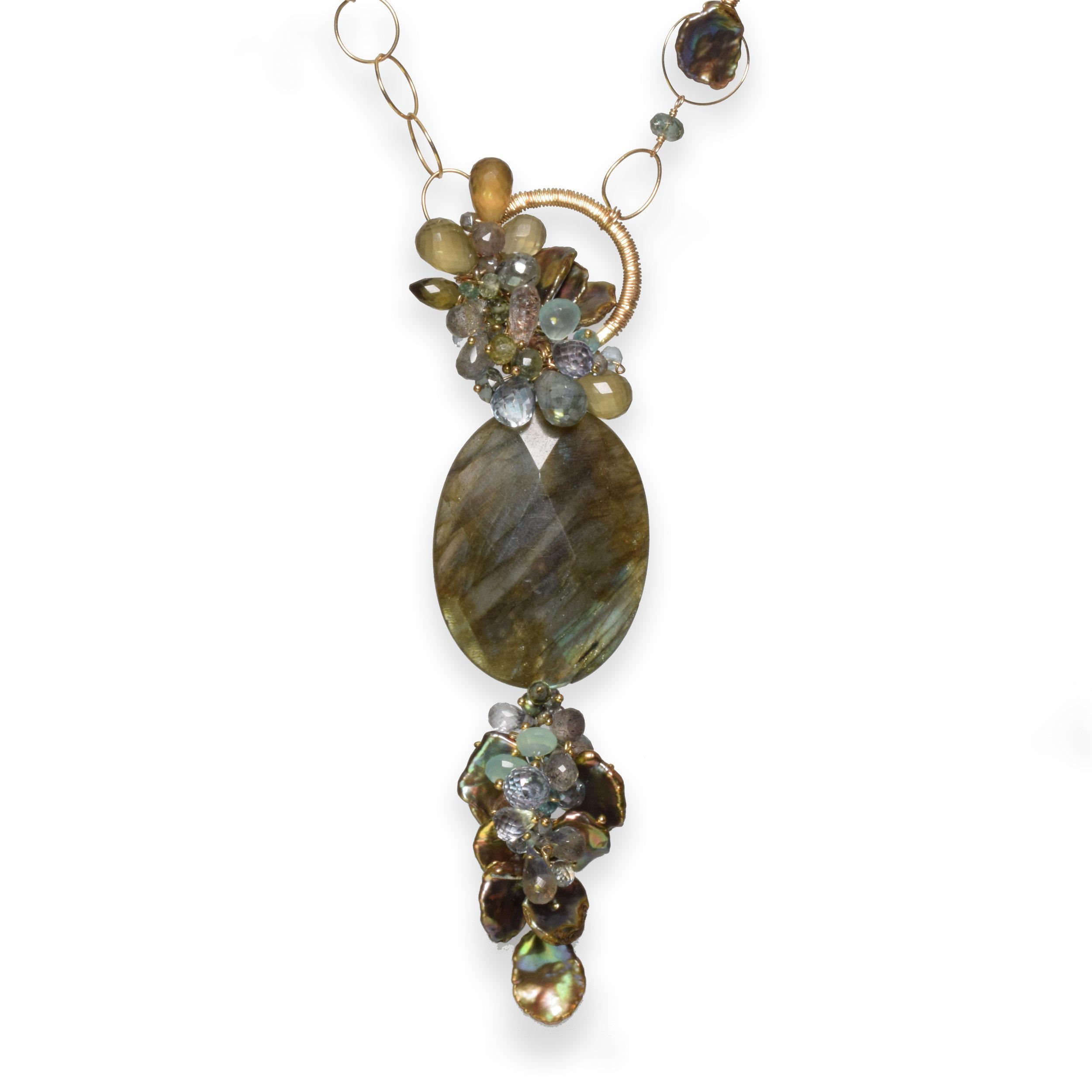 long labradorite gemstone gold necklace