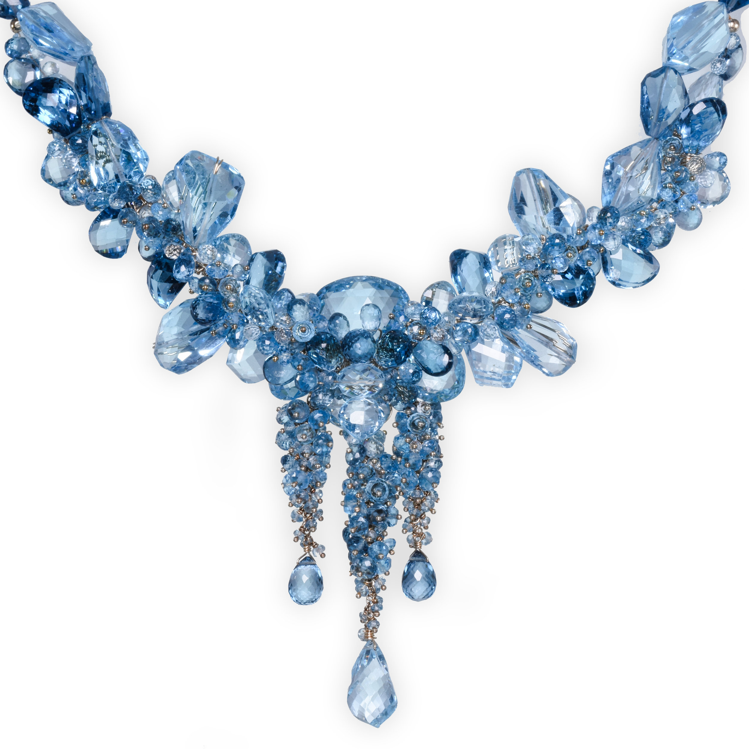 Swiss blue topaz London blue topaz gold statement necklace