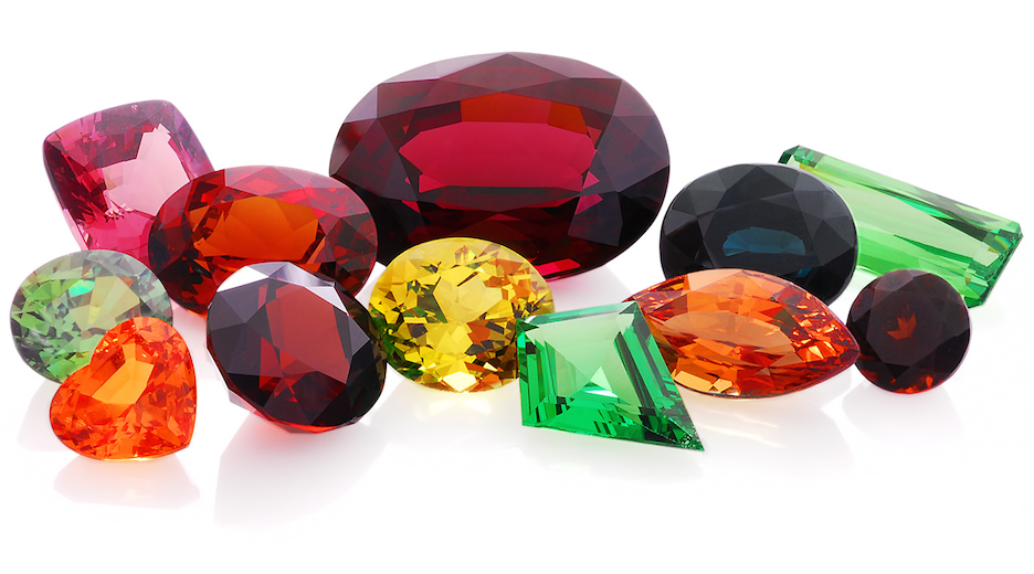 A beautiful array of colorful garnets