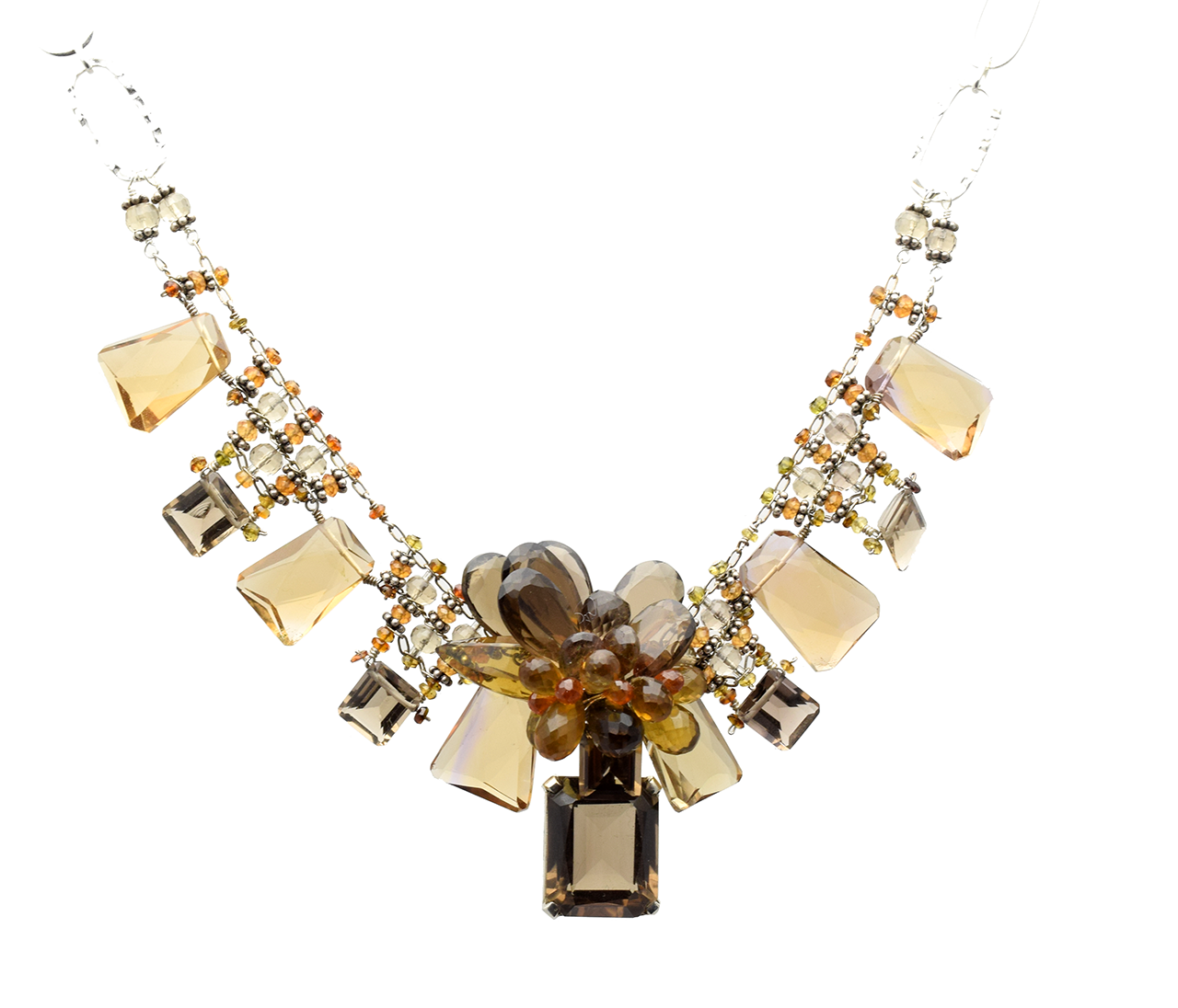 Smokey topaz pendant silver necklace