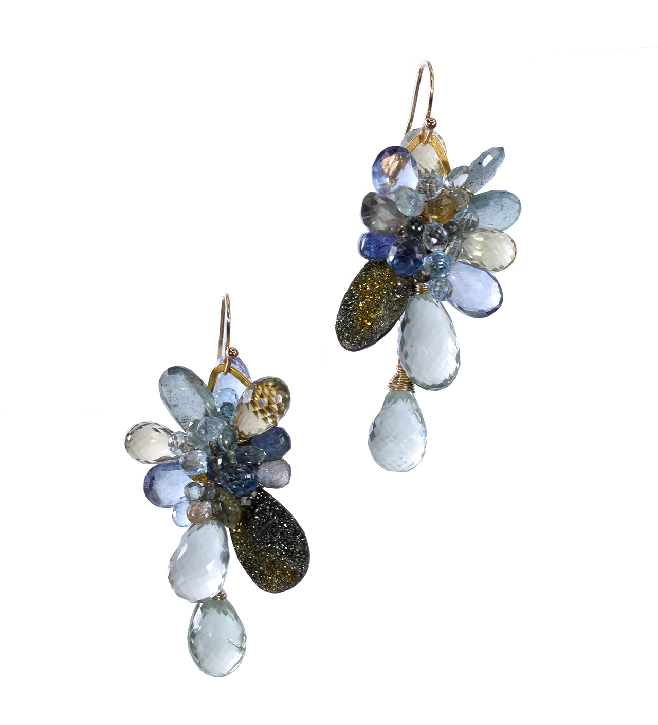 Rainbow pyrite and gemstone gold drop earrings