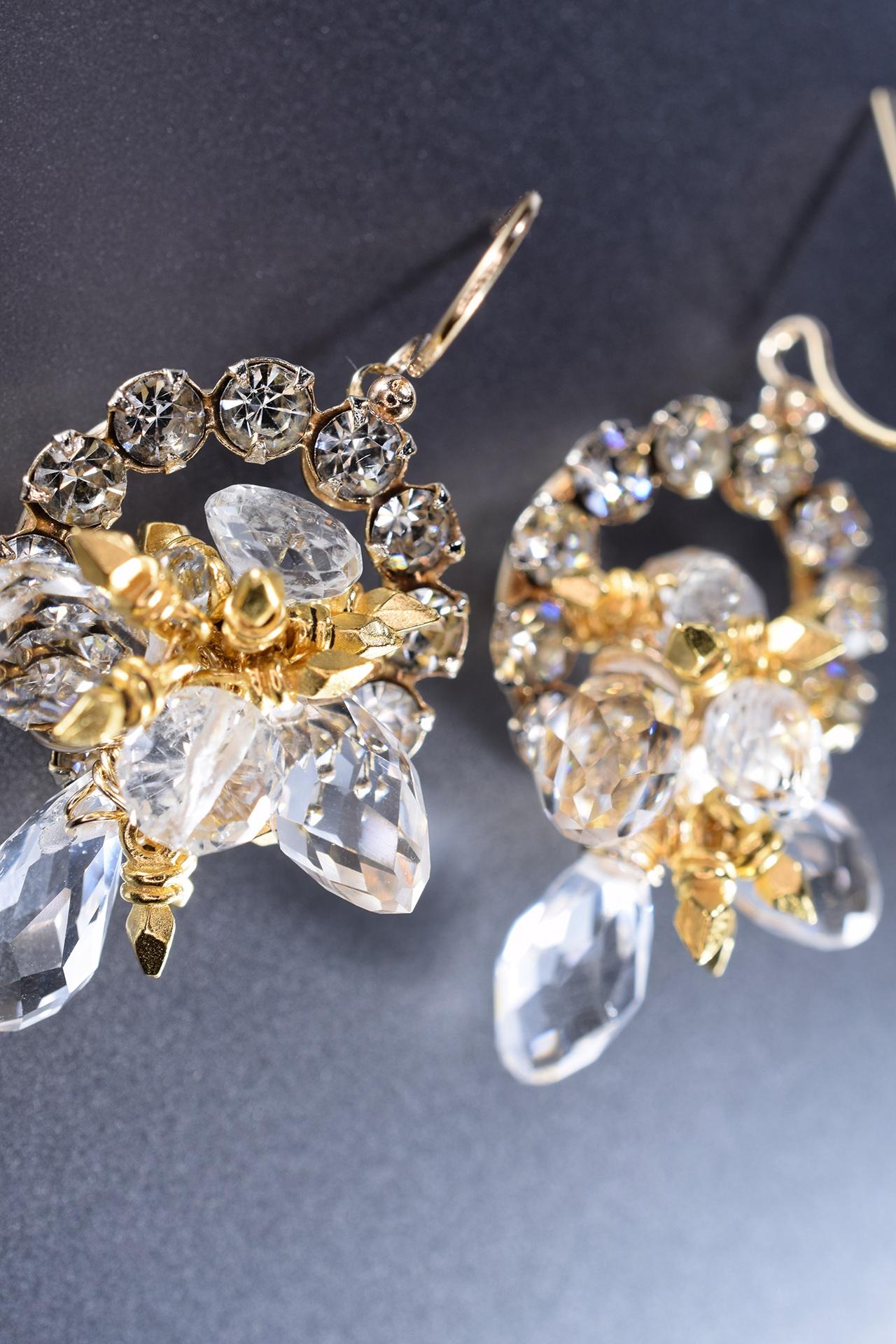 custom earrings gold and crystal rhinestones