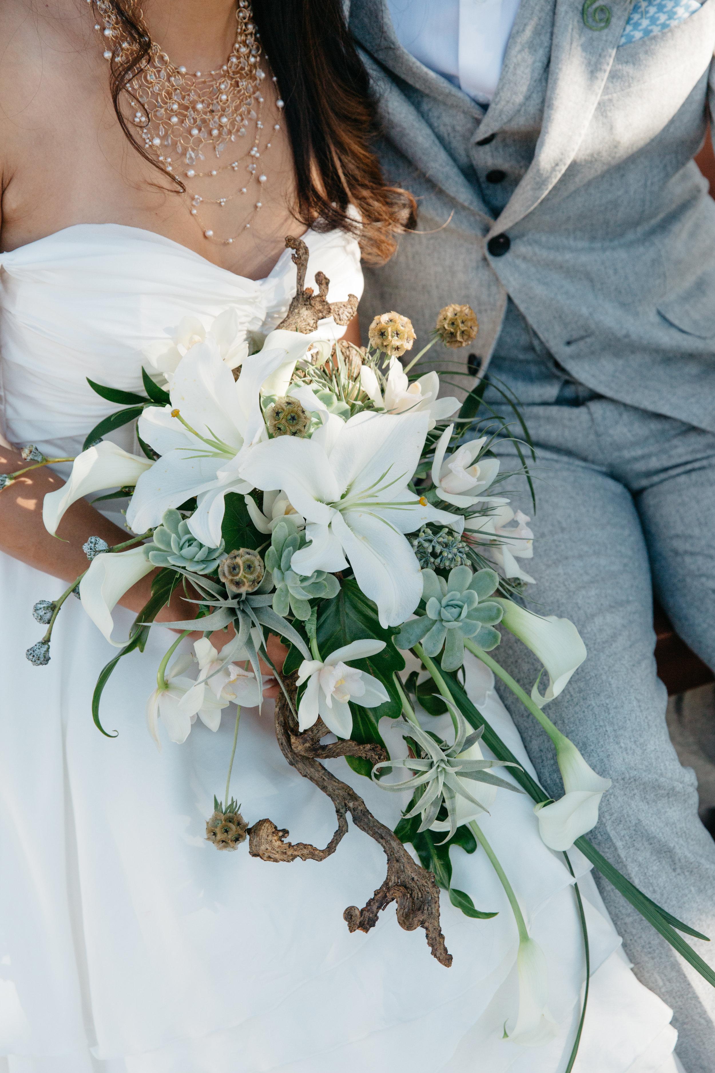 Bride with custom jewelry