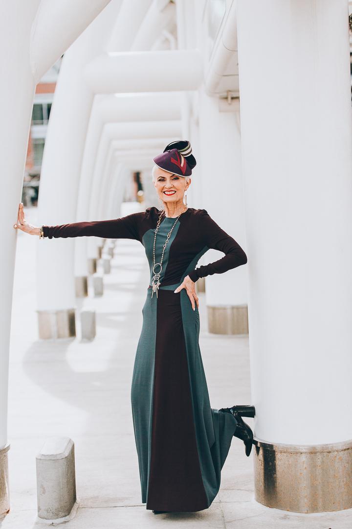 Advanced style blogger Style Crone wearing gemstone jewelry