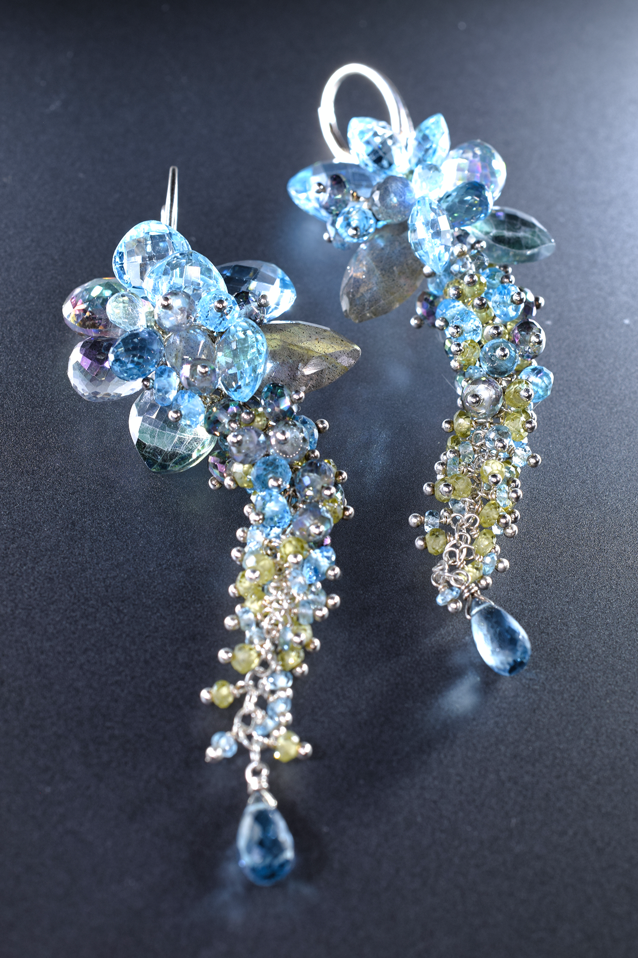 Signature Collection Gemstone & Blue Topaz Statement Earrings