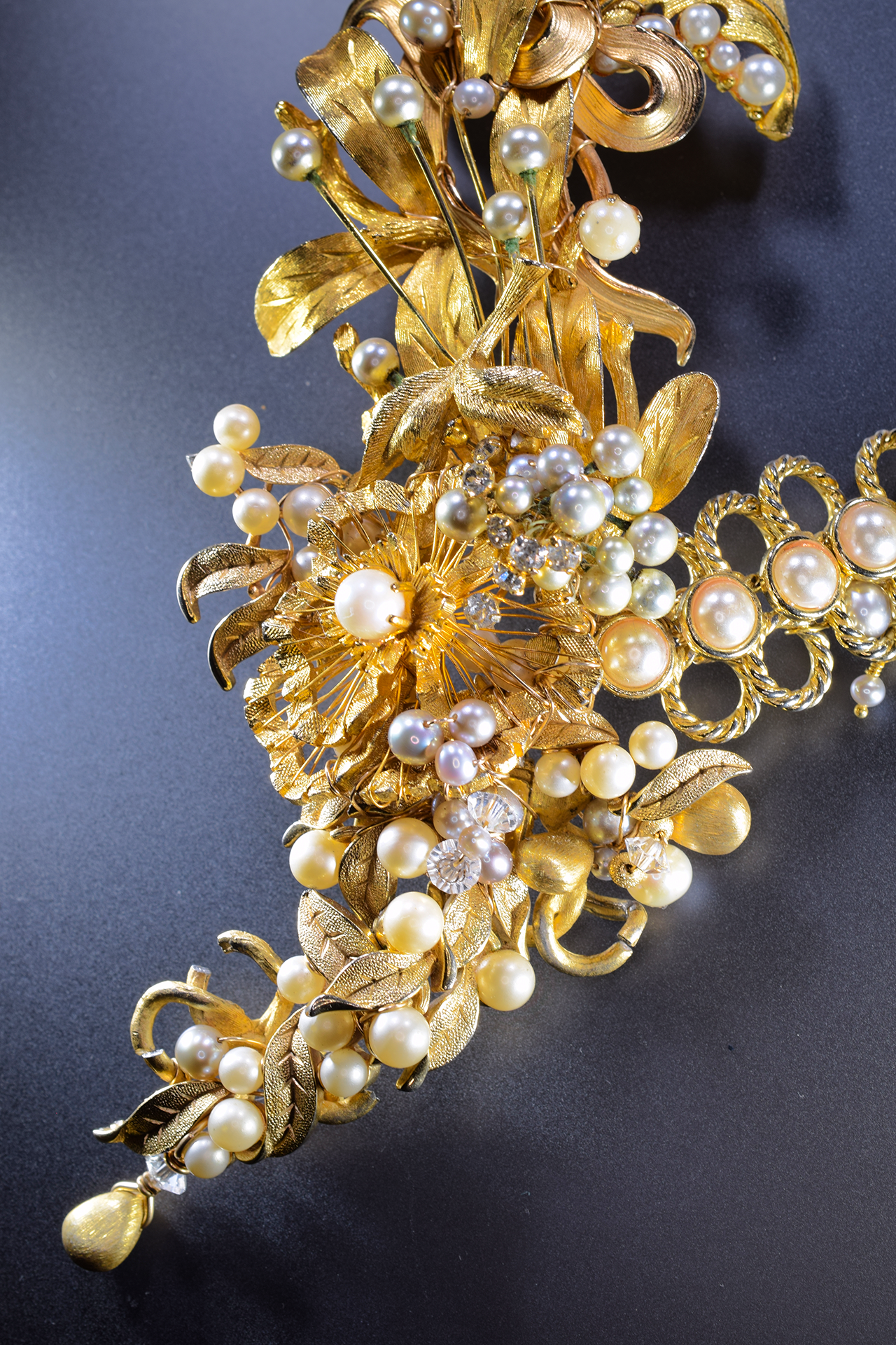 Pearl and Gold Vintage Statement Necklace