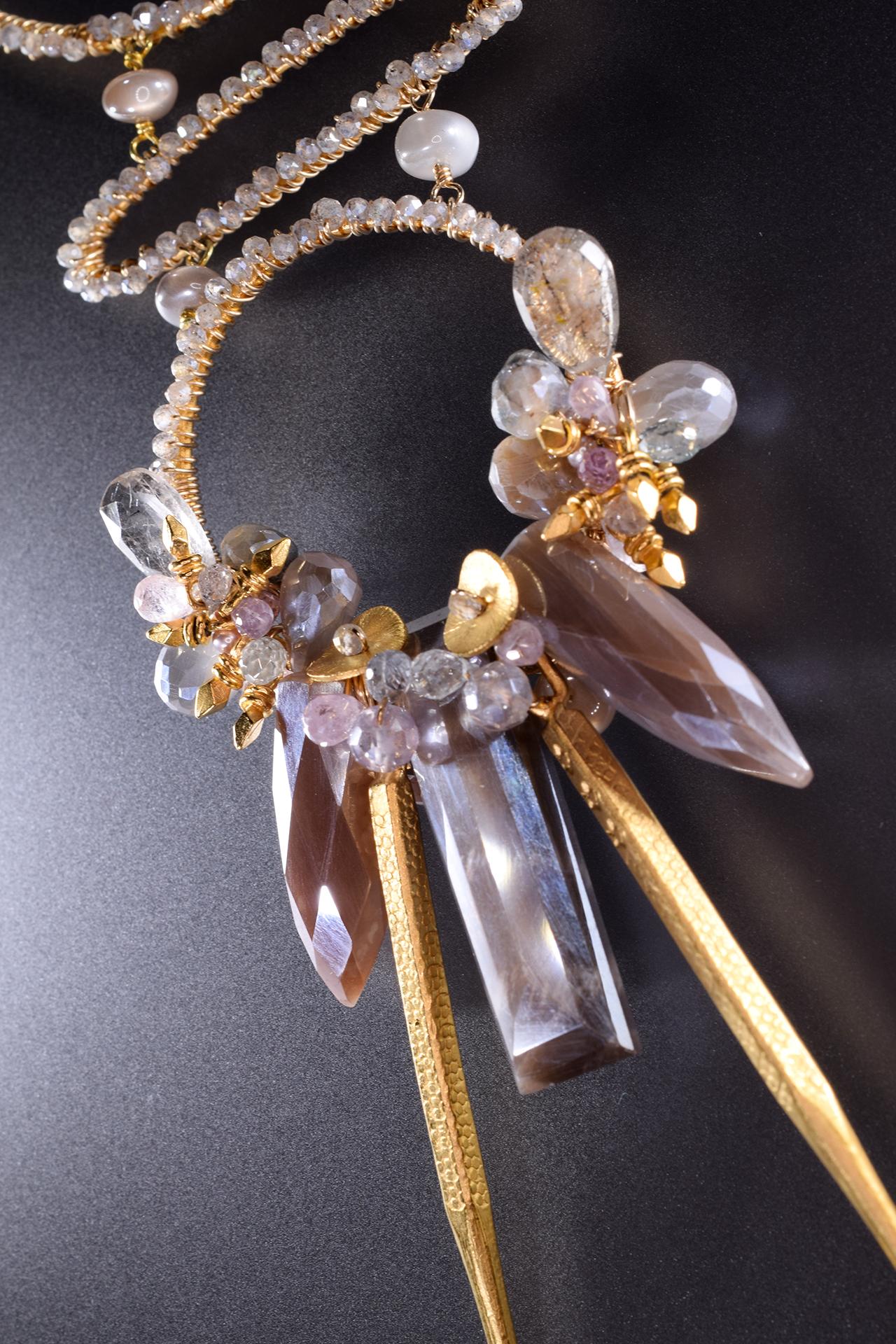 Kali Long Multi-Circle Gemstone Drop Pendant Necklace