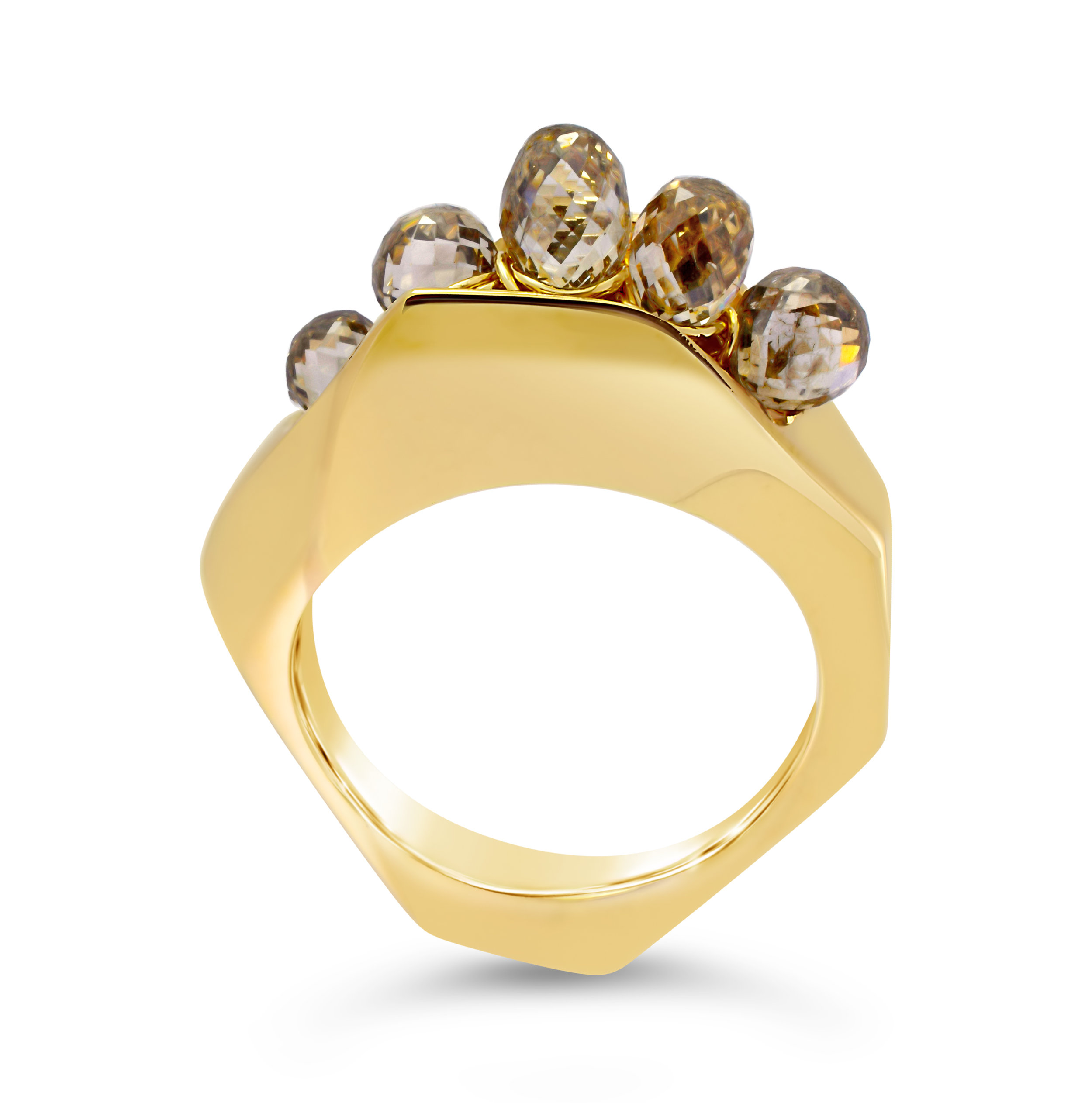 14k gold casted ring with 4 carats of champagne diamonds