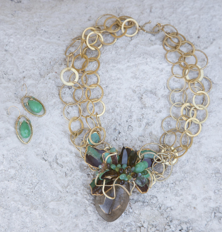 model wearing chrysoprase and gold drop earrings