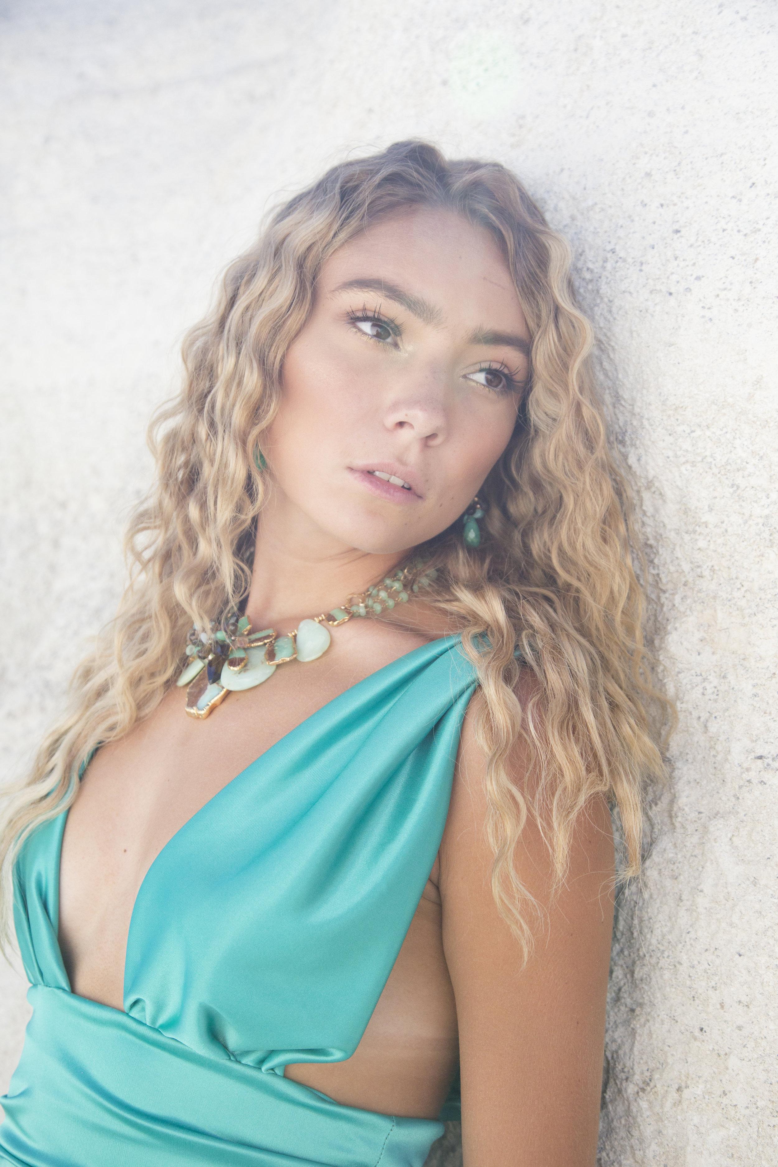 model wearing chrysoprase gemstone earrings