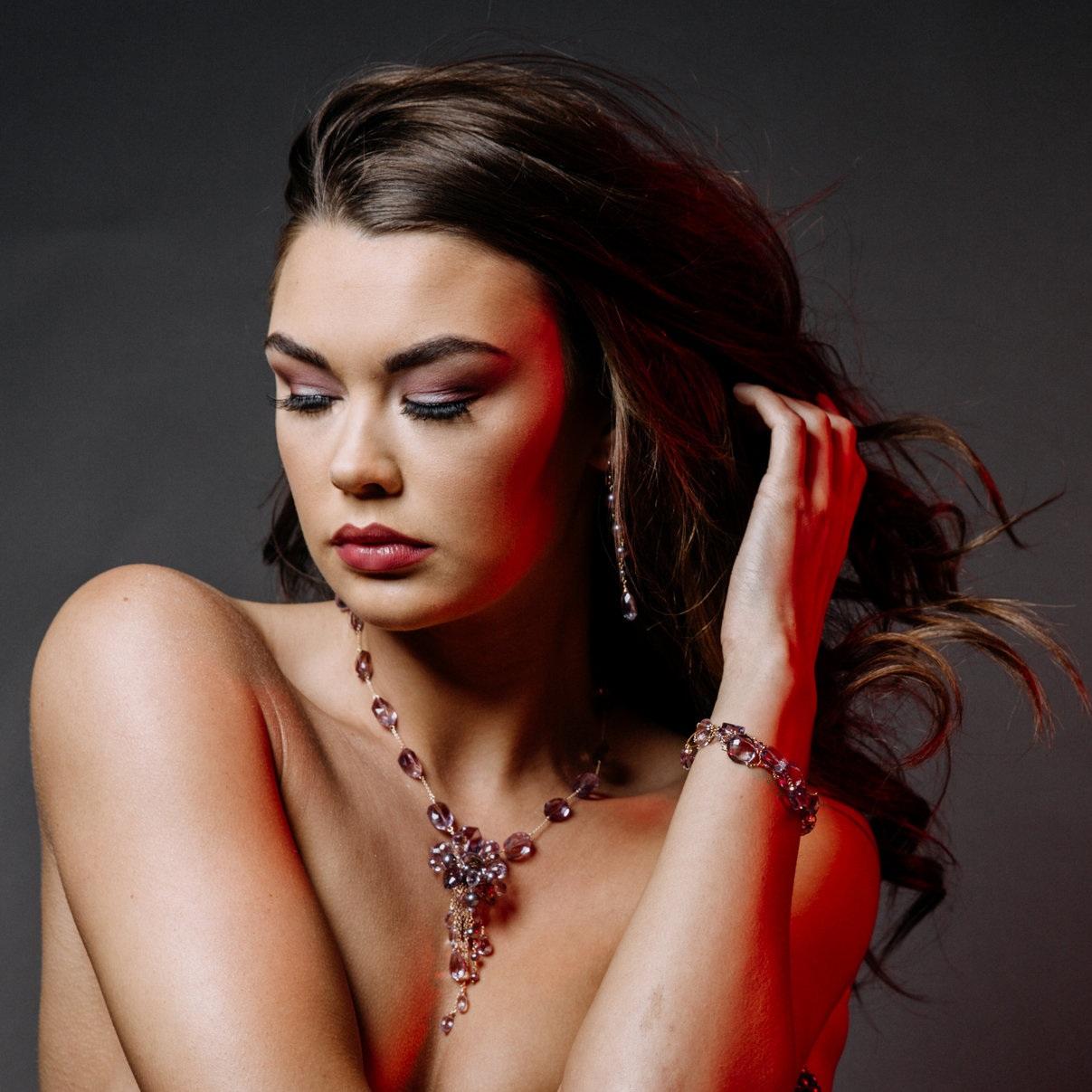 model wearing pink amethyst ametrine pearl multi drop pendant necklace